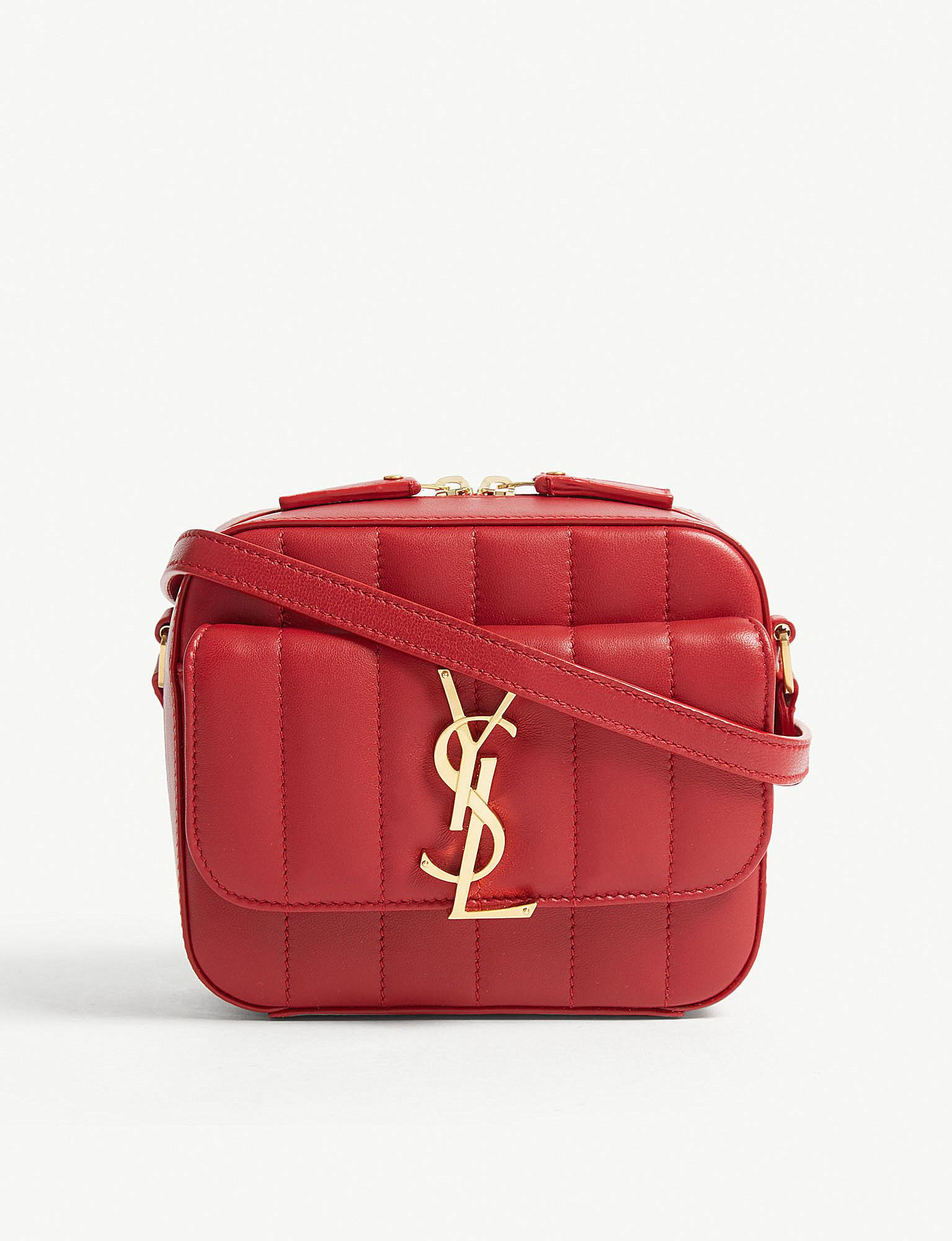 aafdddcd61568e Lyst - Saint Laurent Vicky Toy Quilted Leather Camera Bag in Red