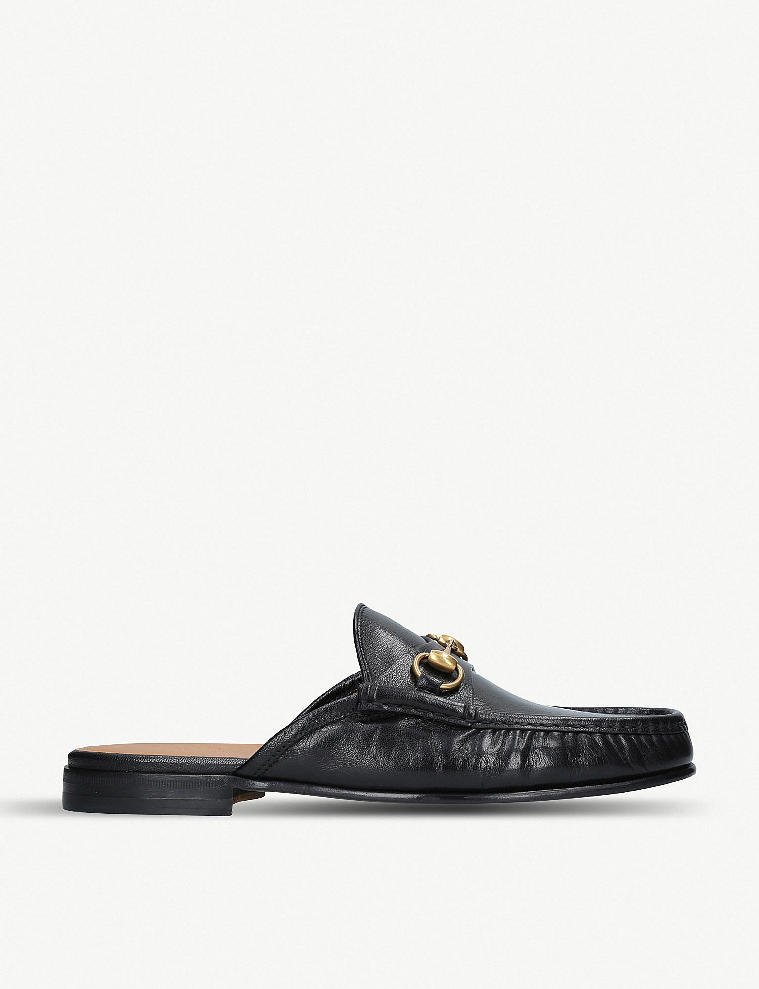 2151f9e42 Gucci Roos Horsebit Open Back Leather Loafers in Black for Men - Lyst