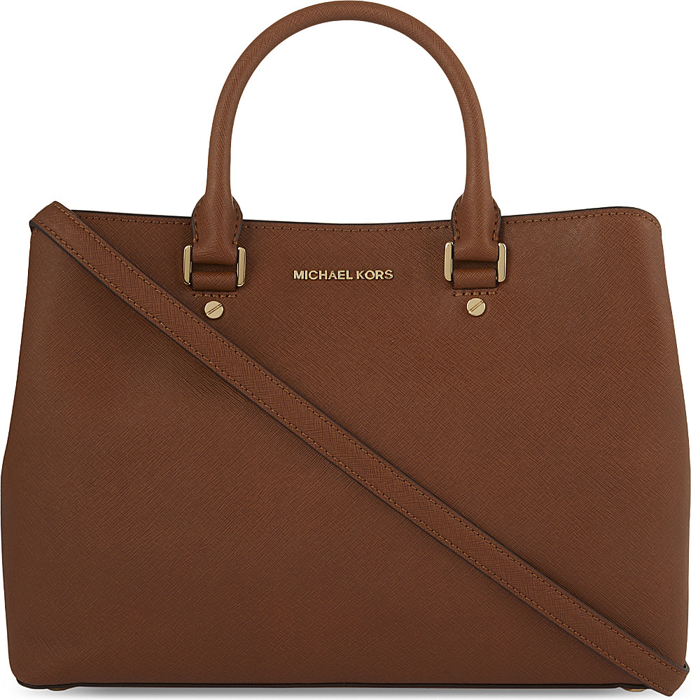 michael michael kors savannah large leather satchel in brown lyst. Black Bedroom Furniture Sets. Home Design Ideas