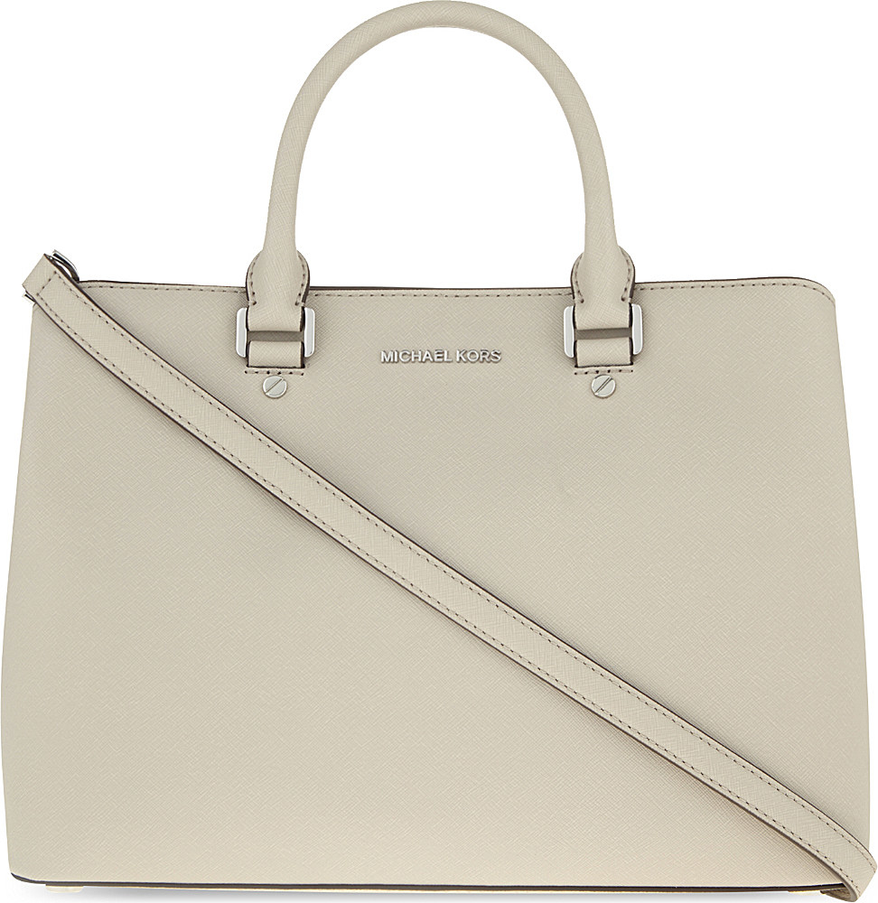 9b0a14819f4d store lyst michael michael kors savannah large leather satchel in gray  49a10 e54fc