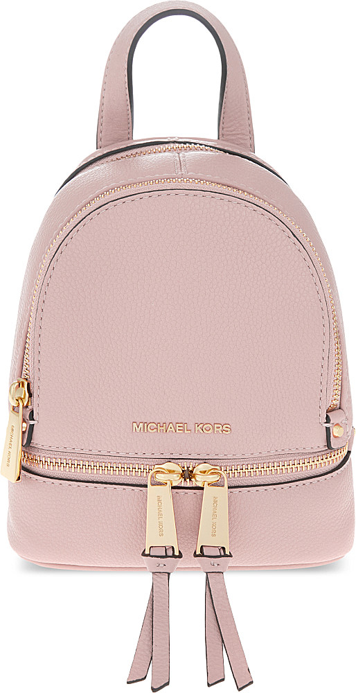 ... wholesale lyst michael michael kors rhea extra small leather backpack  in pink b4881 1ddb9 d481eadd7a