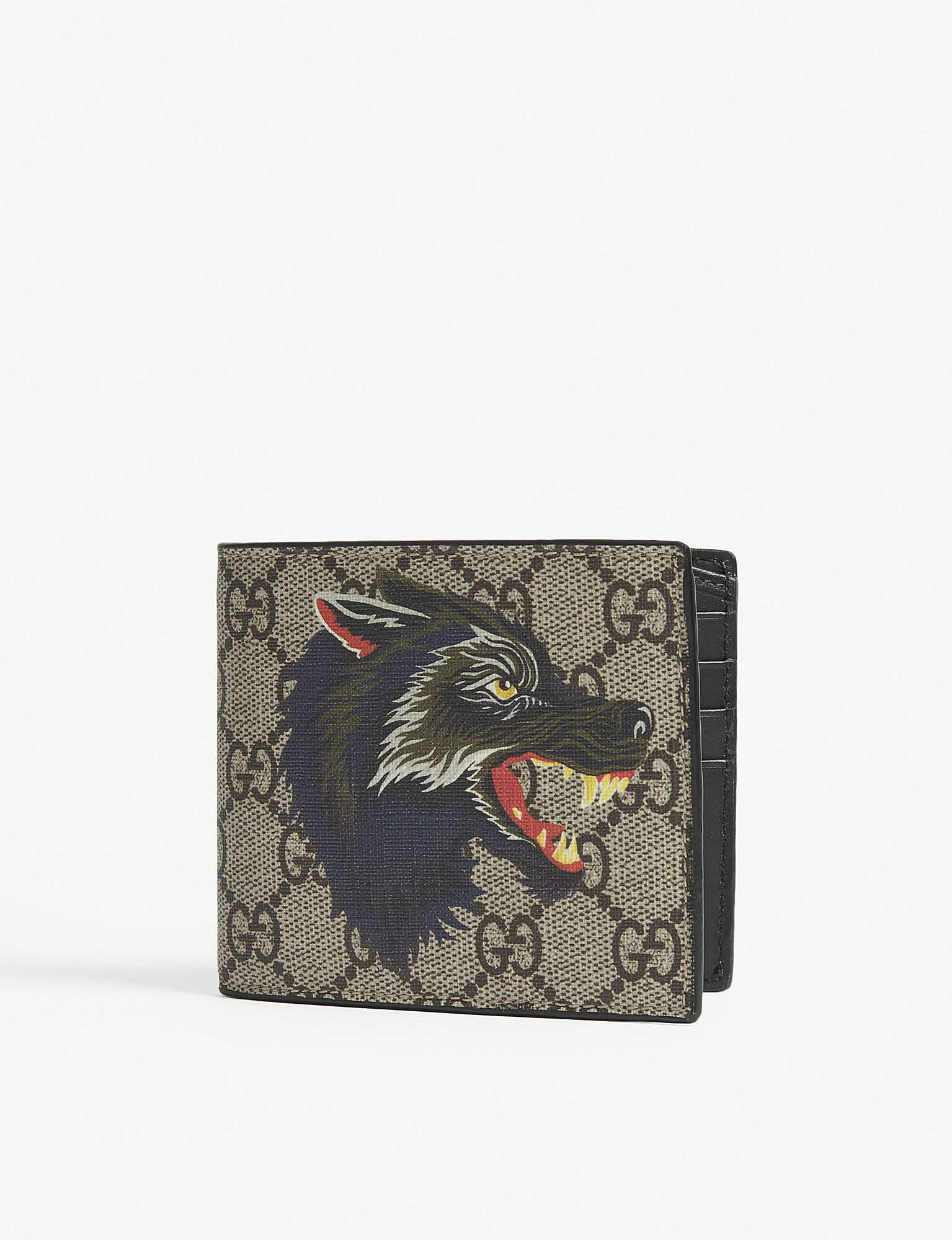 0b3baa12f72a Lyst - Gucci Wolf Print Gg Supreme Billfold Wallet in Natural
