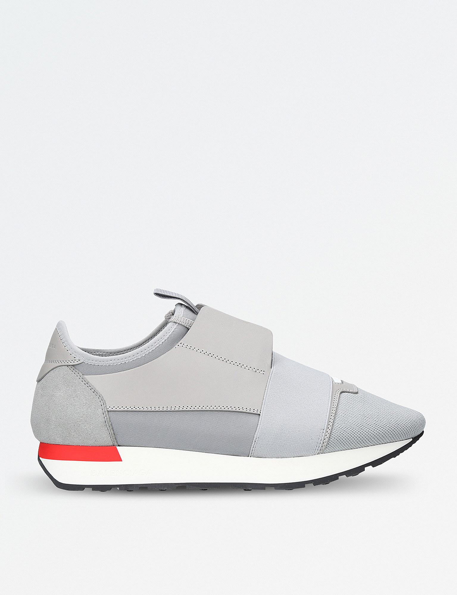 970d26015955 Lyst - Balenciaga Race Runners Leather And Mesh Trainers in Gray for Men