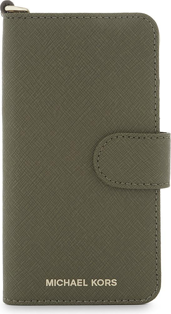 michael michael kors folio leather iphone 7 case in green. Black Bedroom Furniture Sets. Home Design Ideas