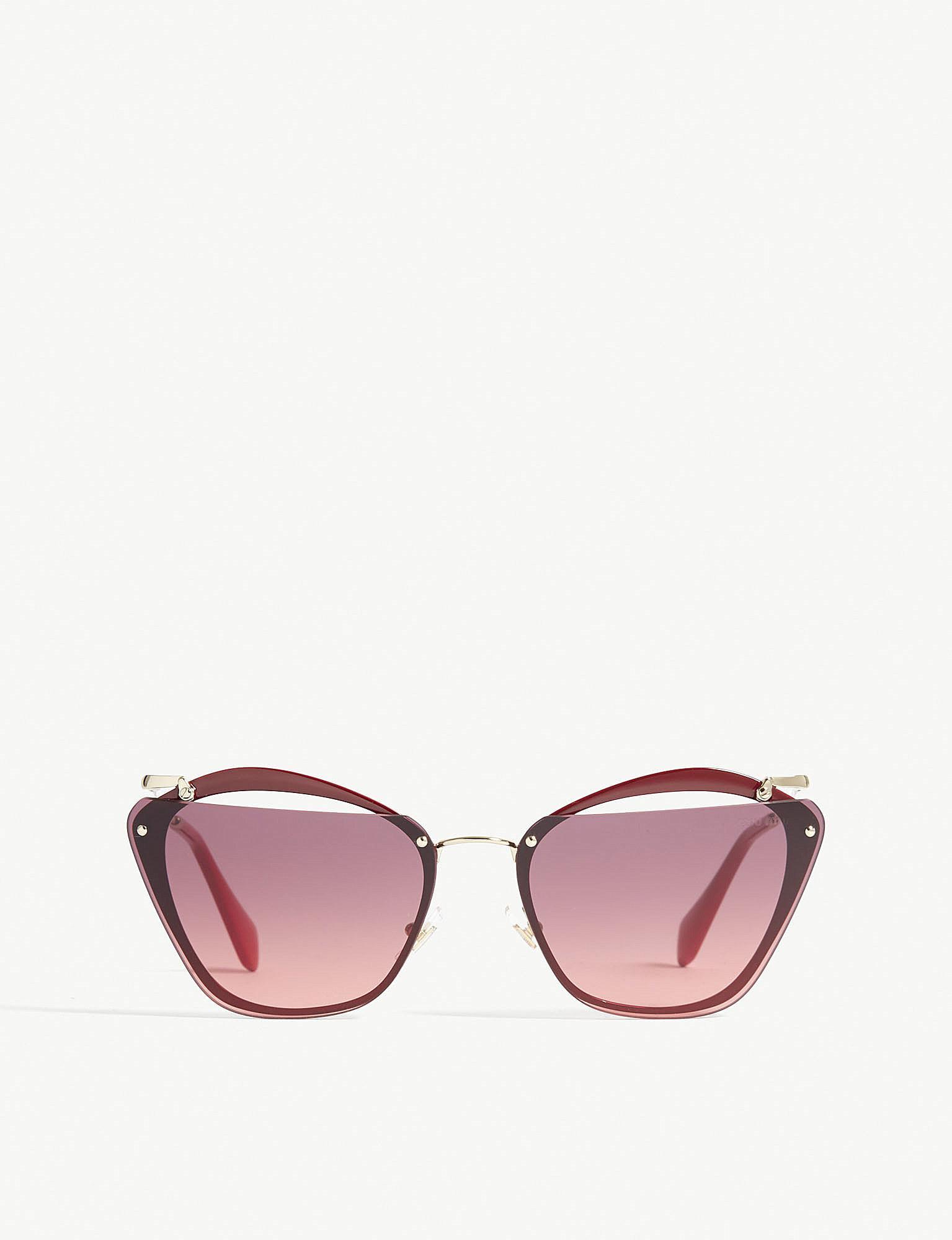 430185b80bab Miu Miu Mu54ts Irregular-frame Sunglasses in Pink - Lyst