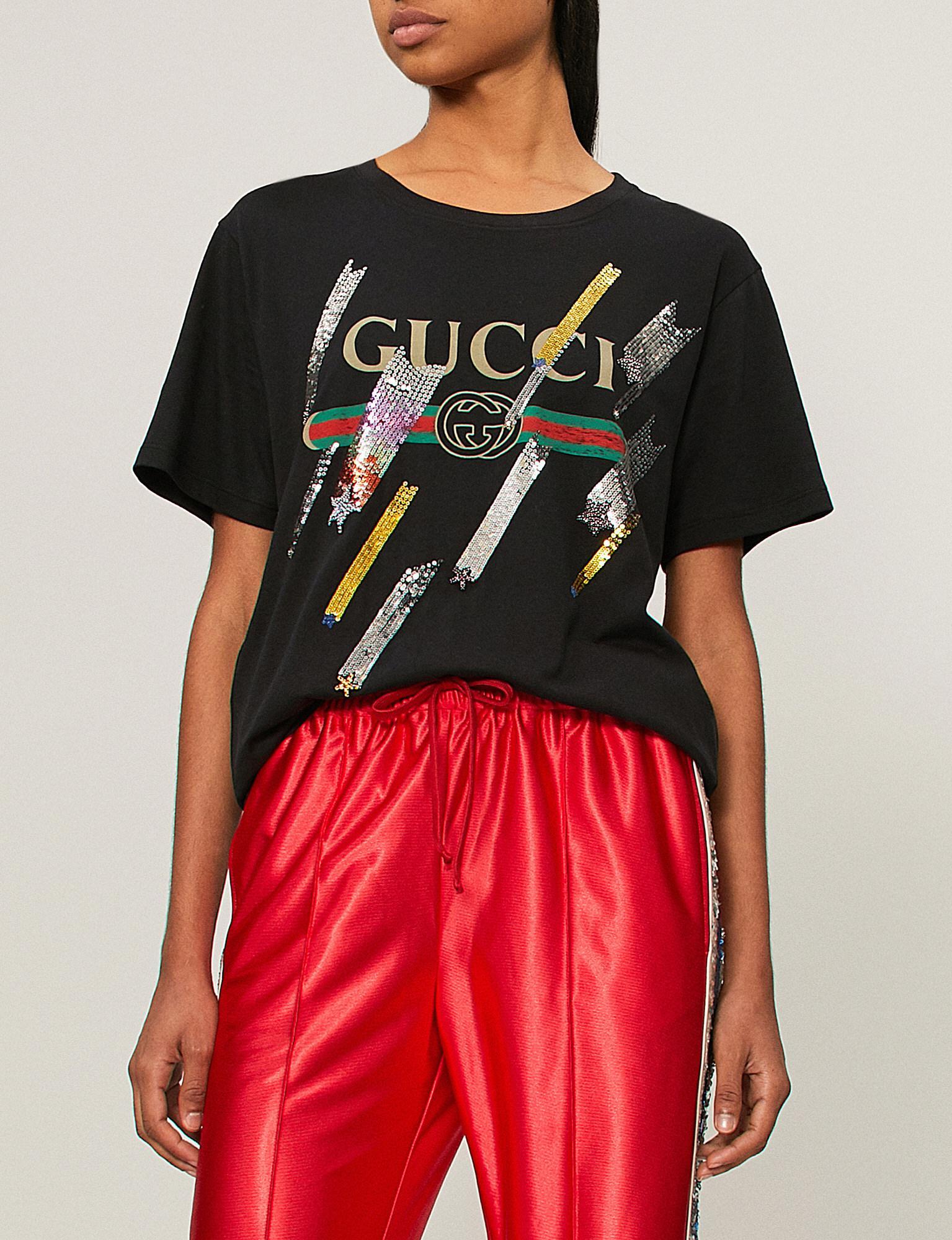 8f6ba14a2b37 Gucci Logo Shooting Stars Embellished Cotton-jersey T-shirt in Black ...