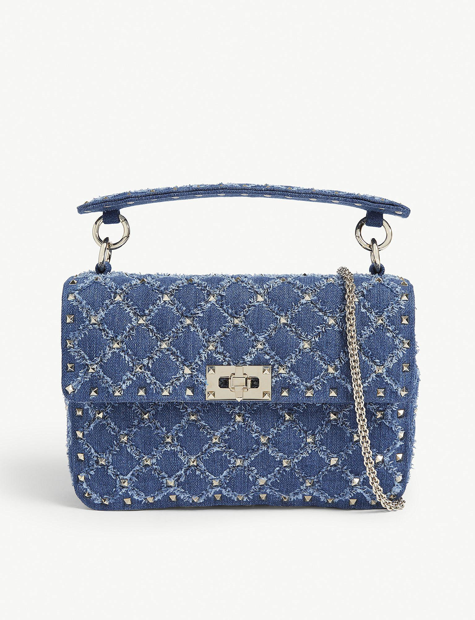 3f2e3882a203 Lyst - Valentino Rockstud Spike Medium Denim Shoulder Bag in Blue ...