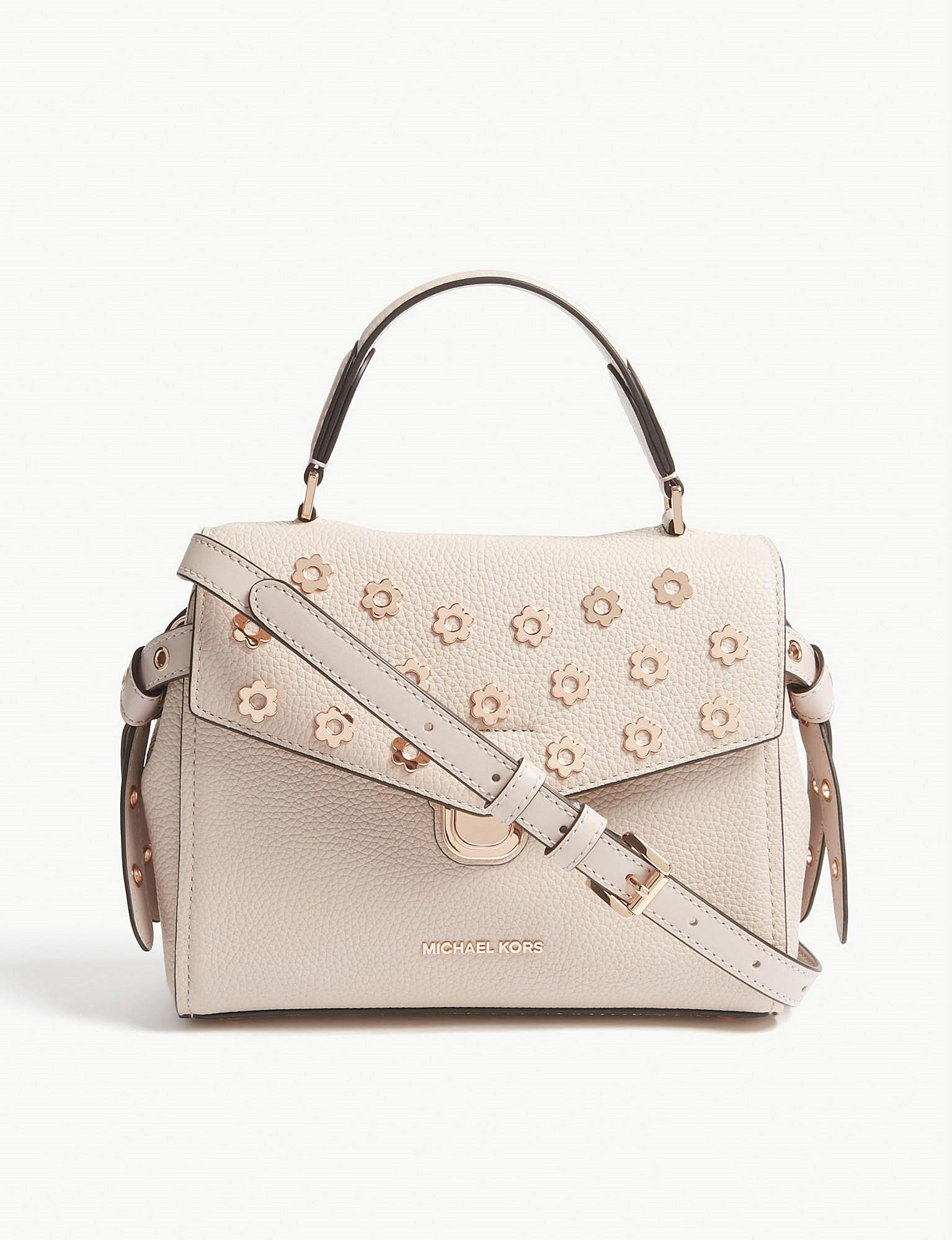 f9cb70644eac ... purchase lyst michael michael kors bristol small grained leather satchel  in 0cc9d 90426