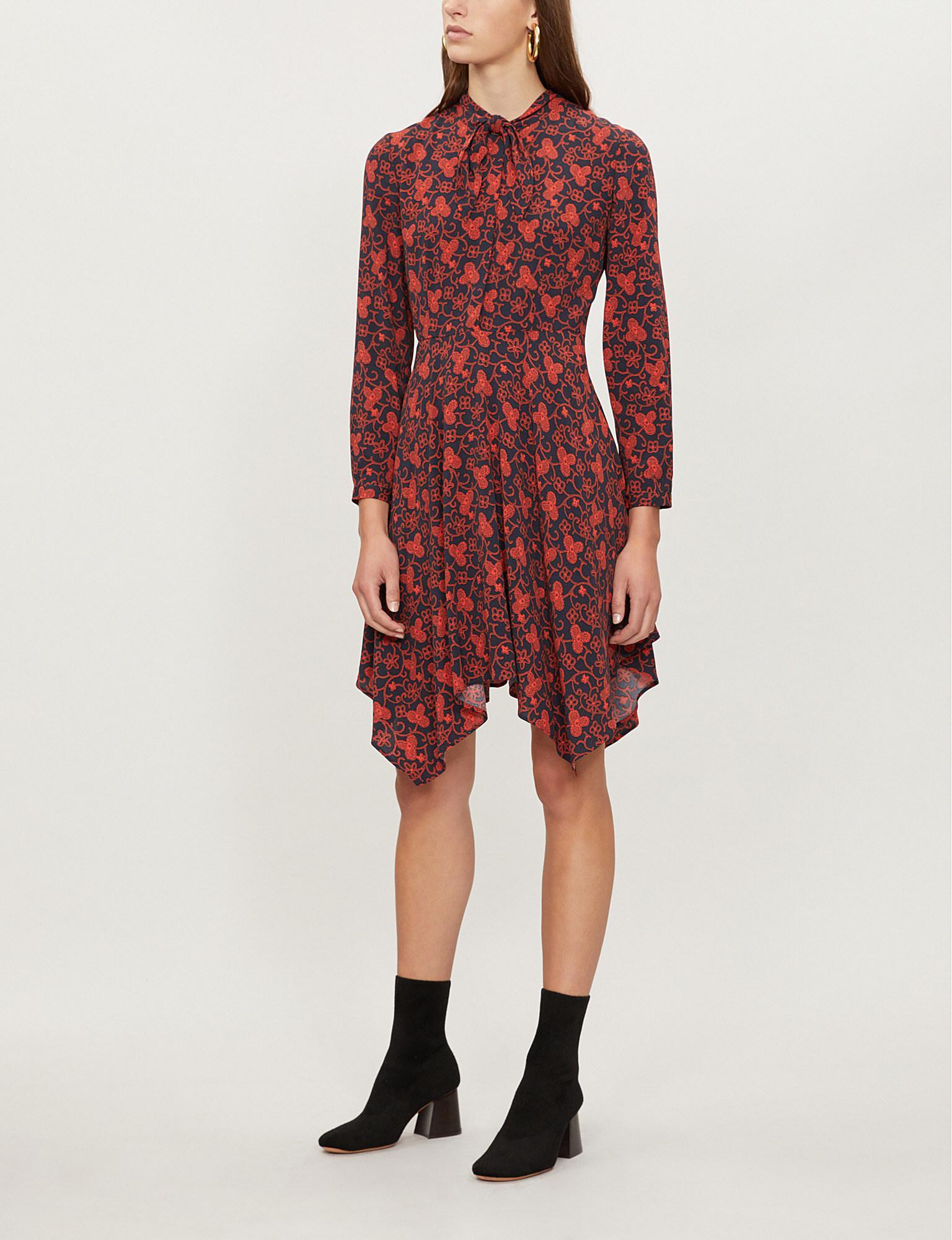 Pierlot In Lyst Rabelia Crepe Neck Red Dress Tie Claudie Floral Print fwSqzq75x