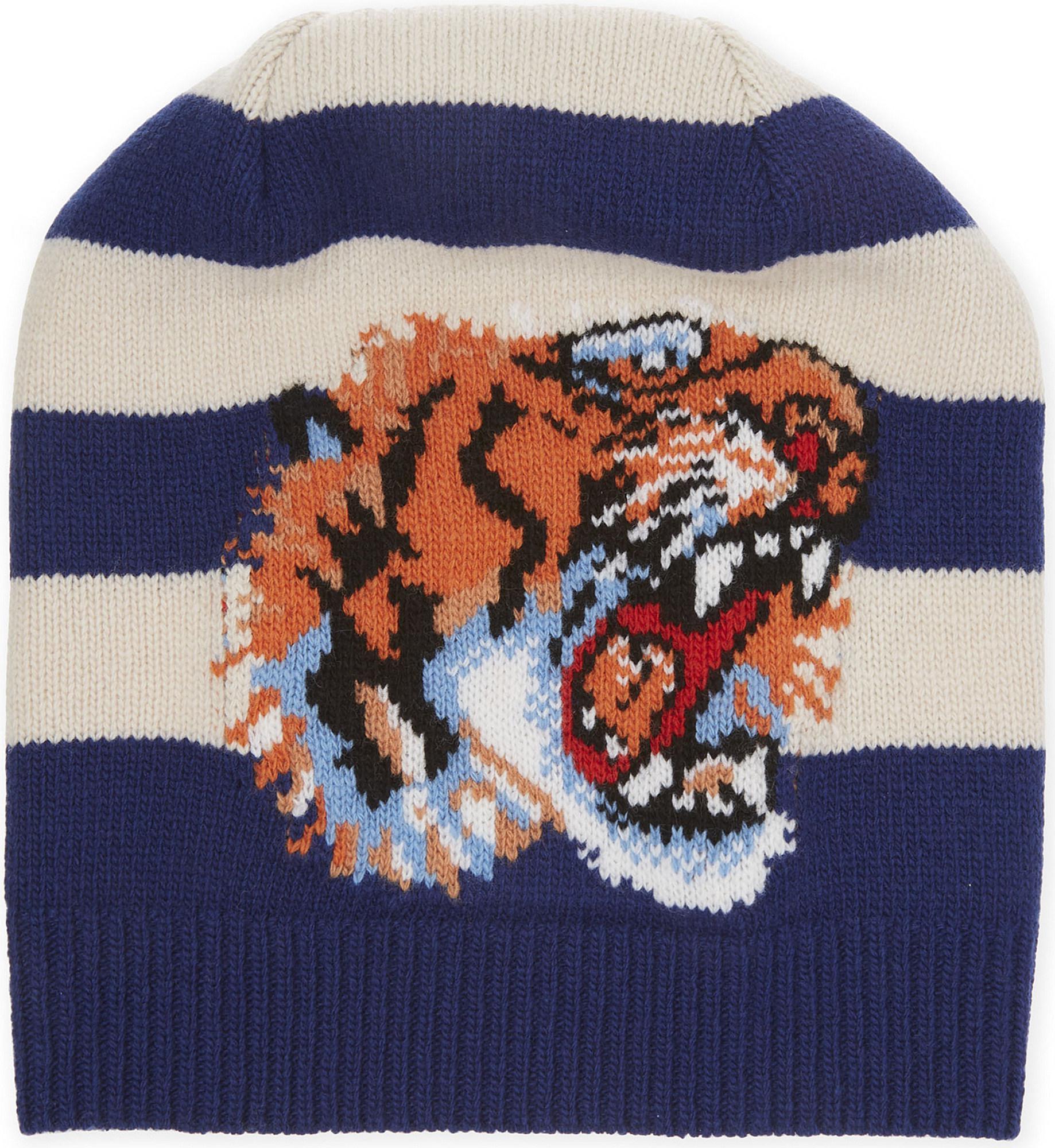 2e8287479de Lyst - Gucci Tiger Striped Beanie in Blue for Men