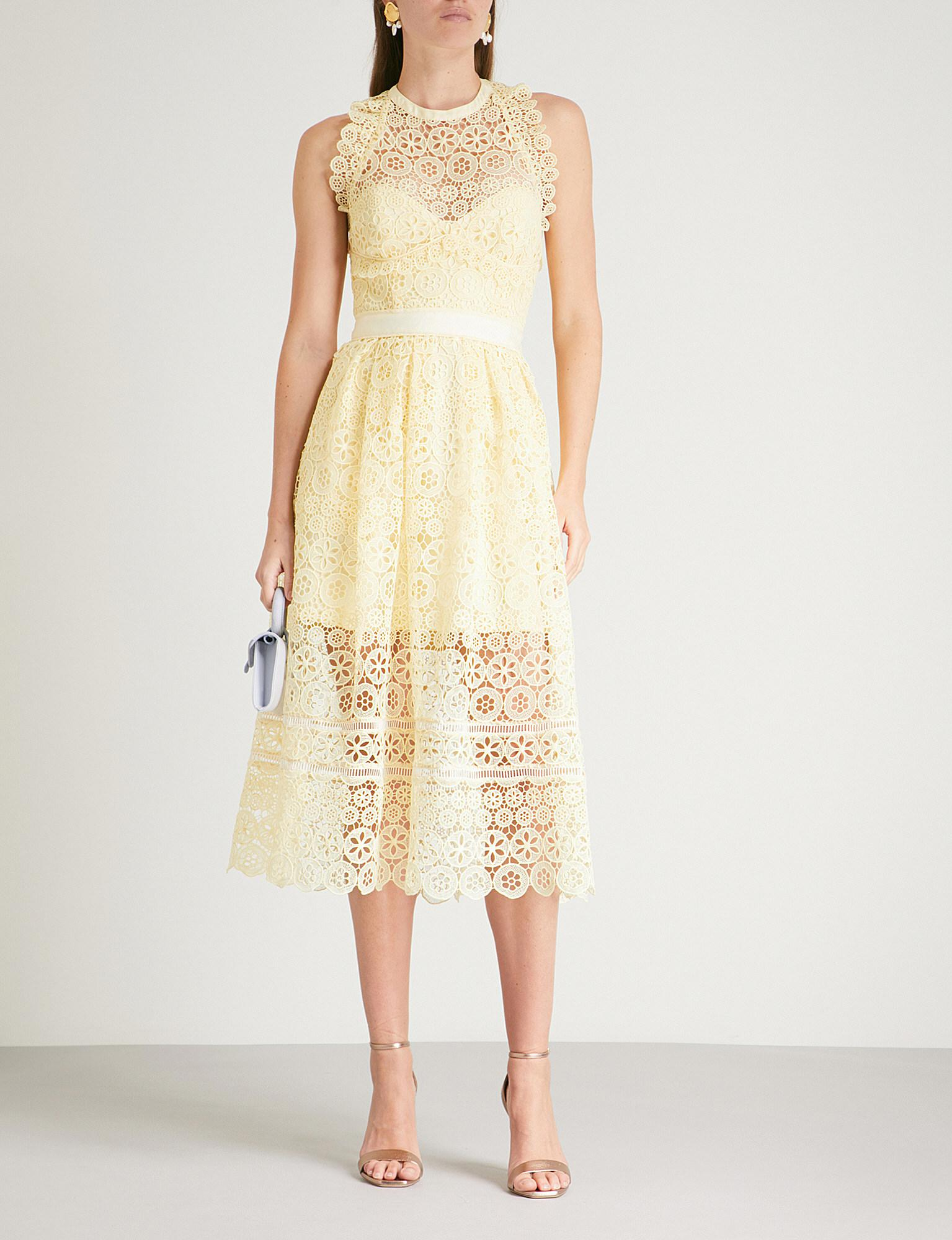 1794a06524182 Self-Portrait Circle Floral Lace Midi Dress in Yellow - Lyst