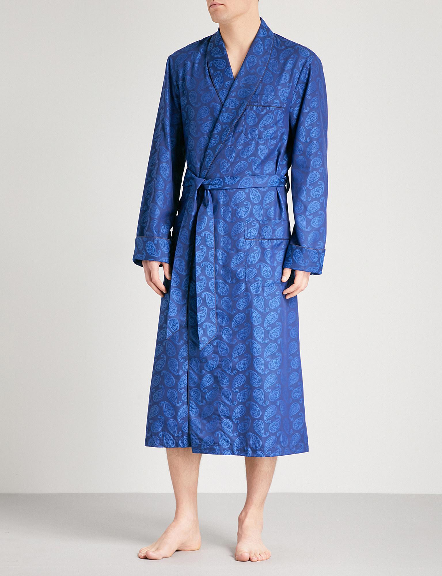 Derek Rose Paris 013 Paisley-pattern Cotton Dressing Gown in Blue ... 4517686db
