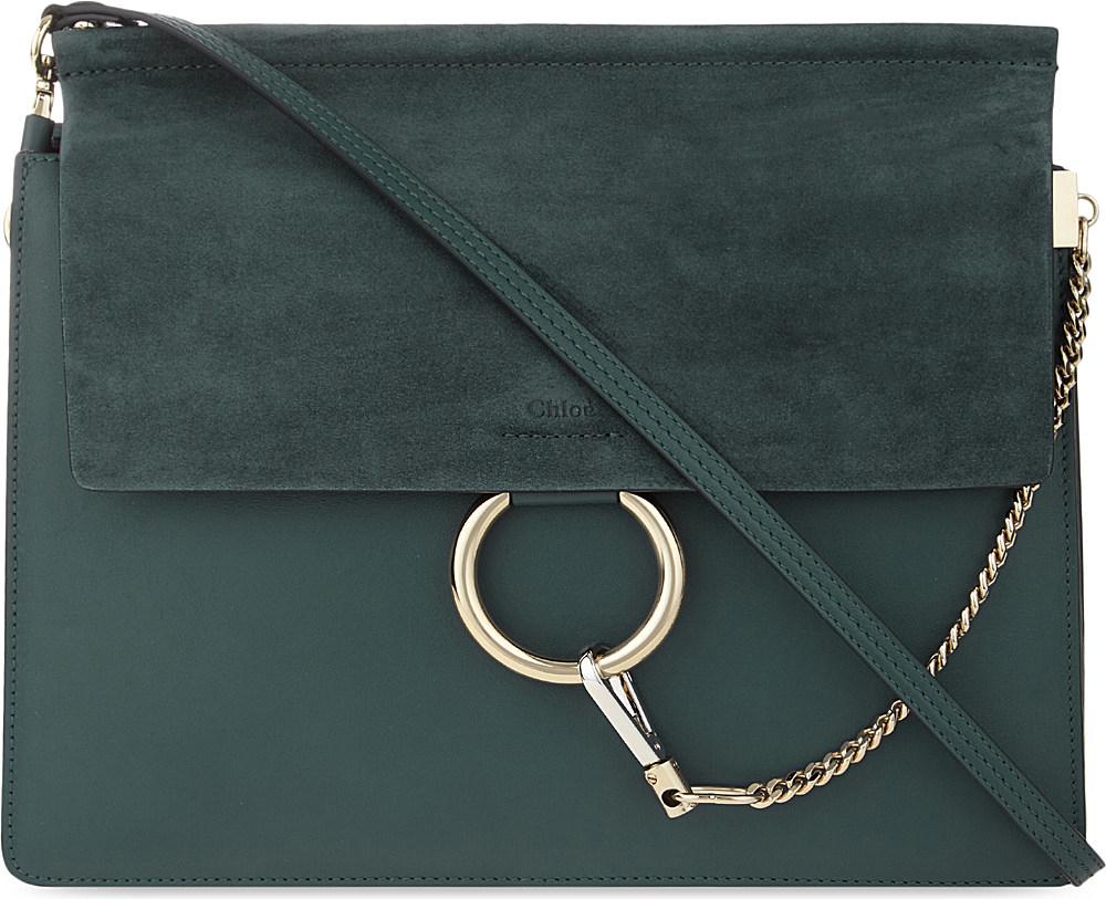 daa9eab954 Chloé Faye Medium Leather Satchel in Green - Lyst