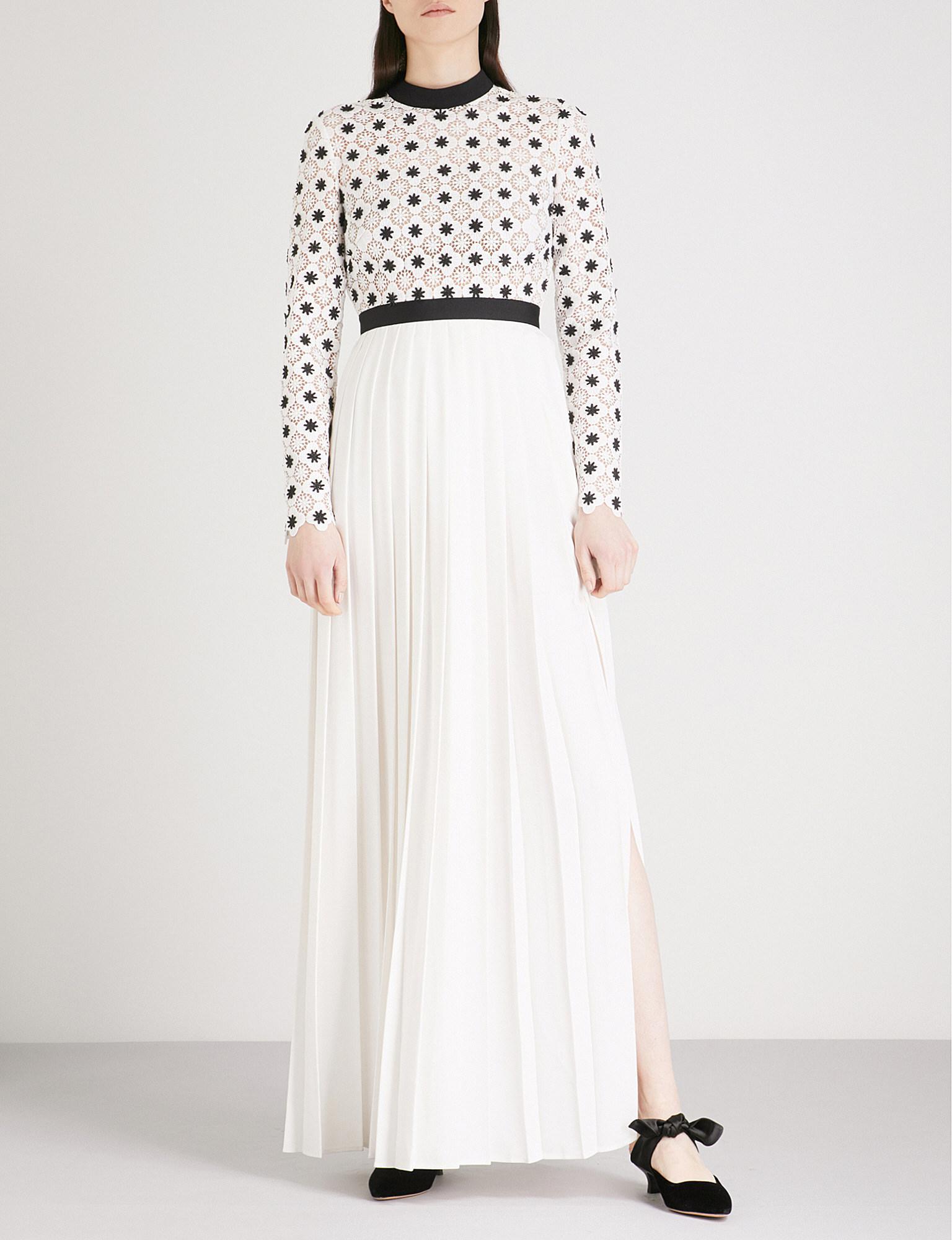 ab4cf4ba9d60 Self-Portrait 3d Floral Lace Crepe Maxi Dress in White - Lyst