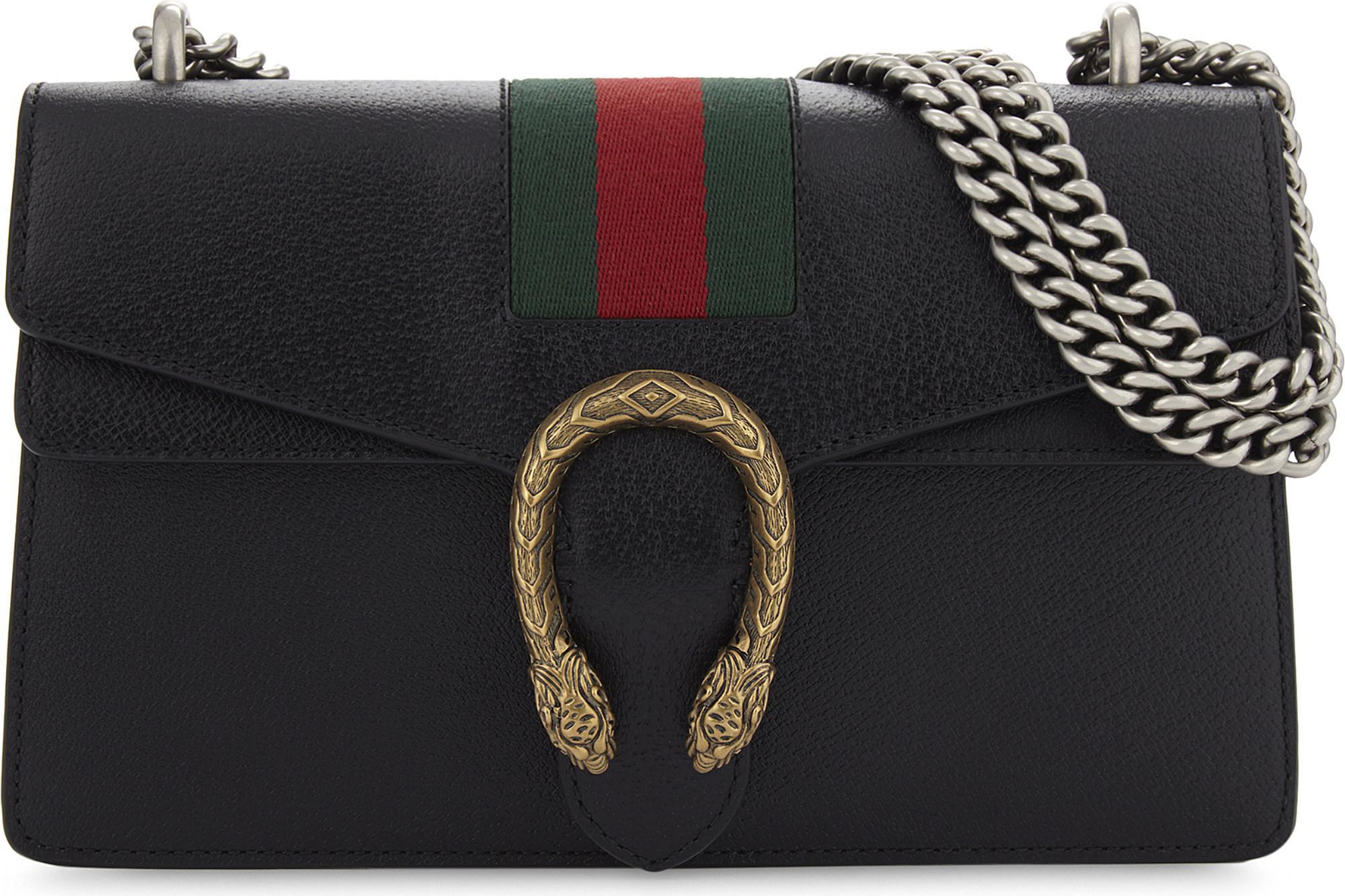 6e6d752b2 Gucci Dionysus Web Stripe Small Leather Shoulder Bag in Black - Lyst