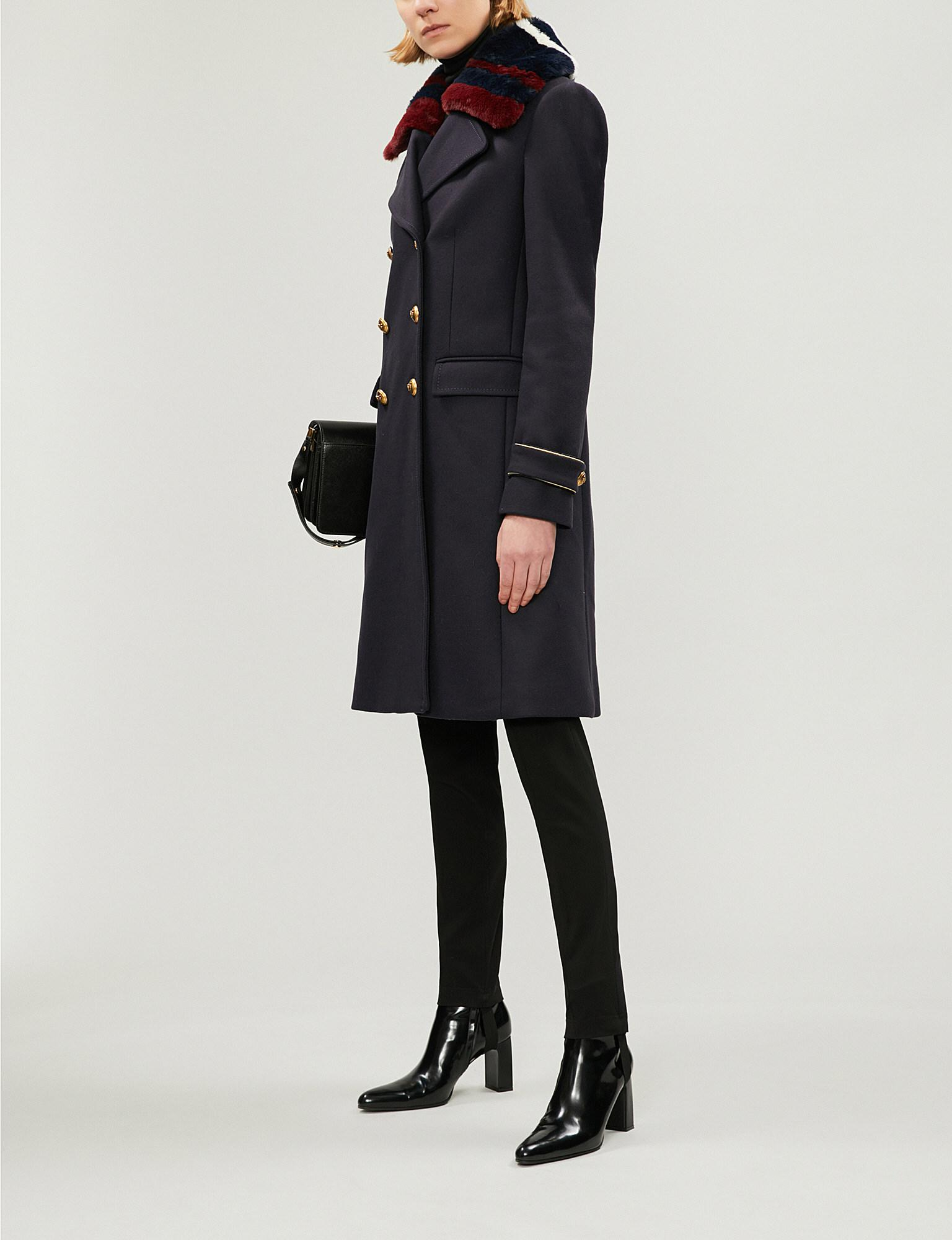 f91f8f518d Pinko Quadro Double-breasted Faux-fur And Wool-blend Coat in Black ...