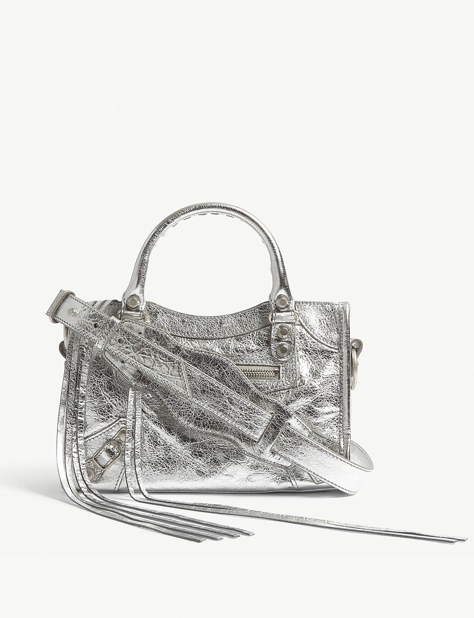 96c3d592db7ce Lyst - Balenciaga Metallic Mini City Leather Shoulder Bag in Metallic