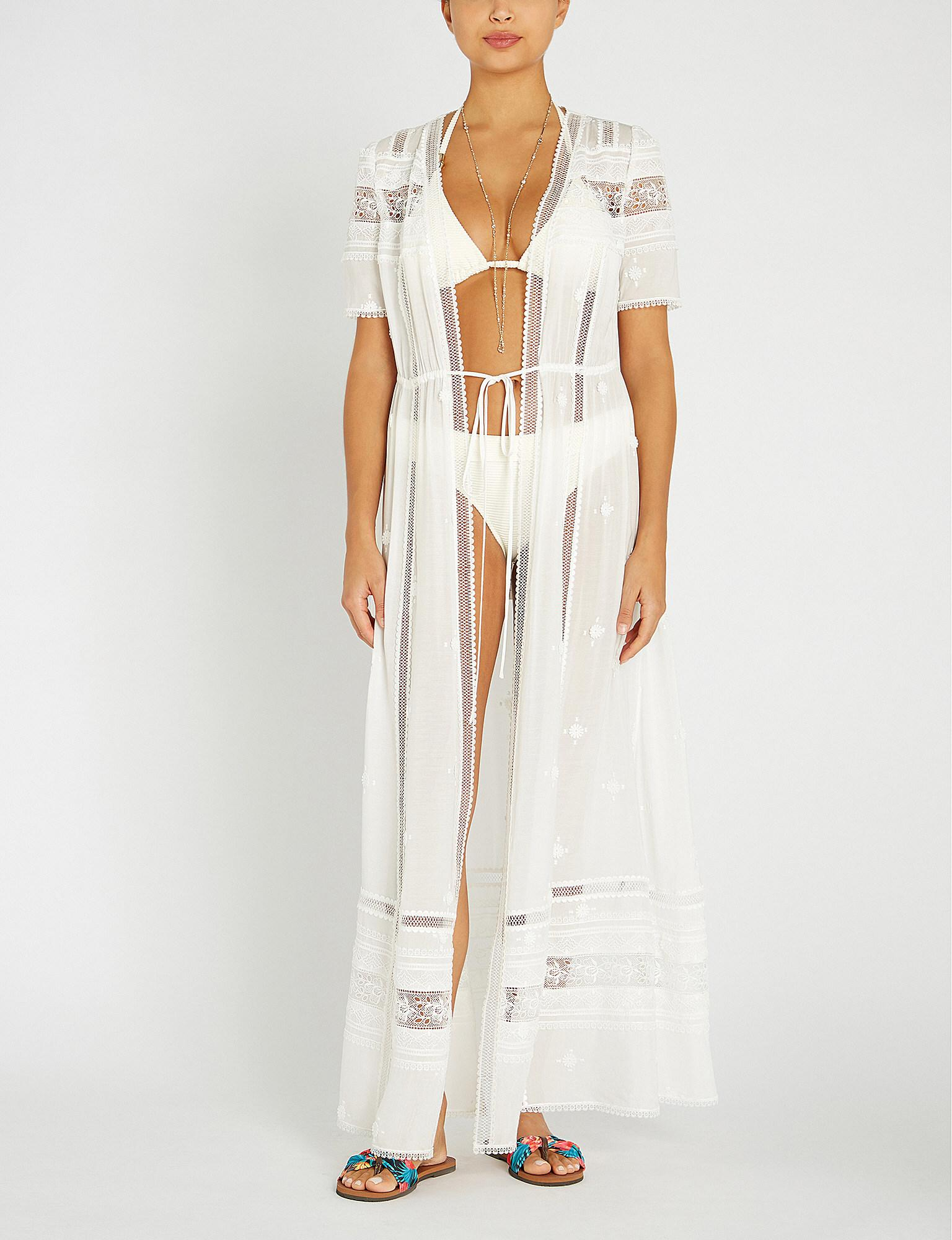 550de2f144d05 Lyst - Self-Portrait Loose-fit Drawstring Woven Maxi Dress in White