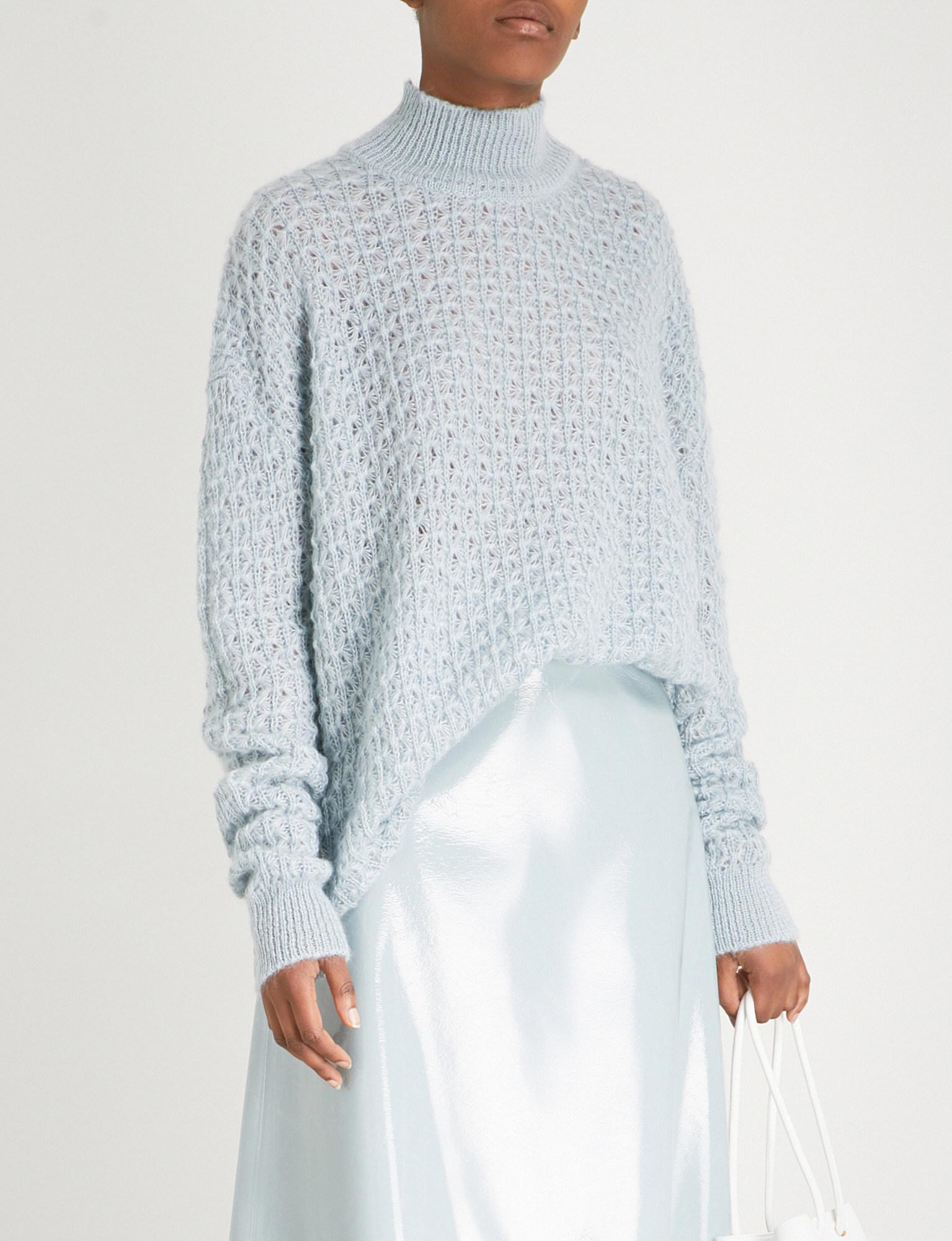Jil Open Knit Blend Jumper Blue Turtleneck Women's Silk And Mohair Sander rIq46Sxwtr