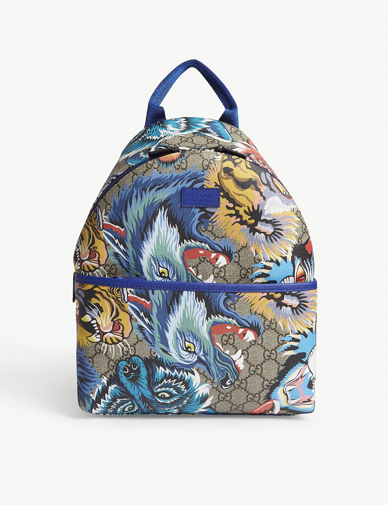 f1fc1a2a9390b2 Gucci Gg Supreme Tiger-print Backpack in Blue - Lyst