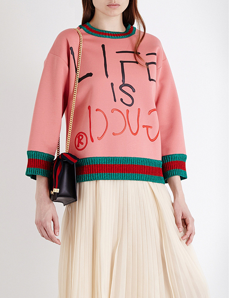 Lyst - Gucci Life Is Cotton-neoprene Sweatshirt in Pink