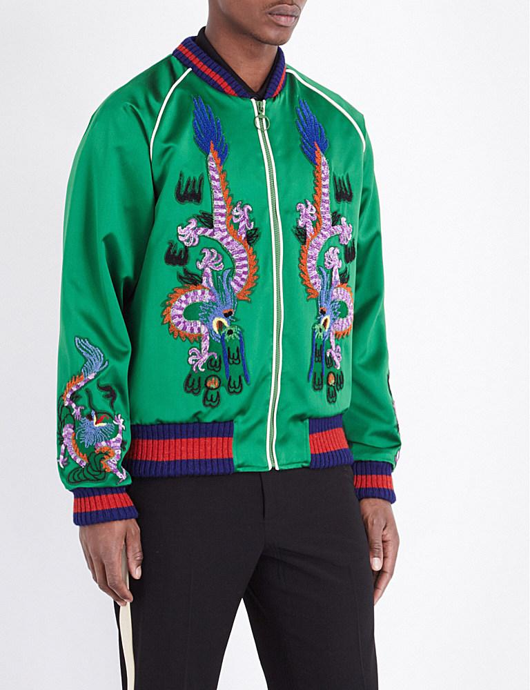 0db3e9d697ad80 Lyst - Gucci Dragon Embroidered Silk Bomber Jacket in Green for Men