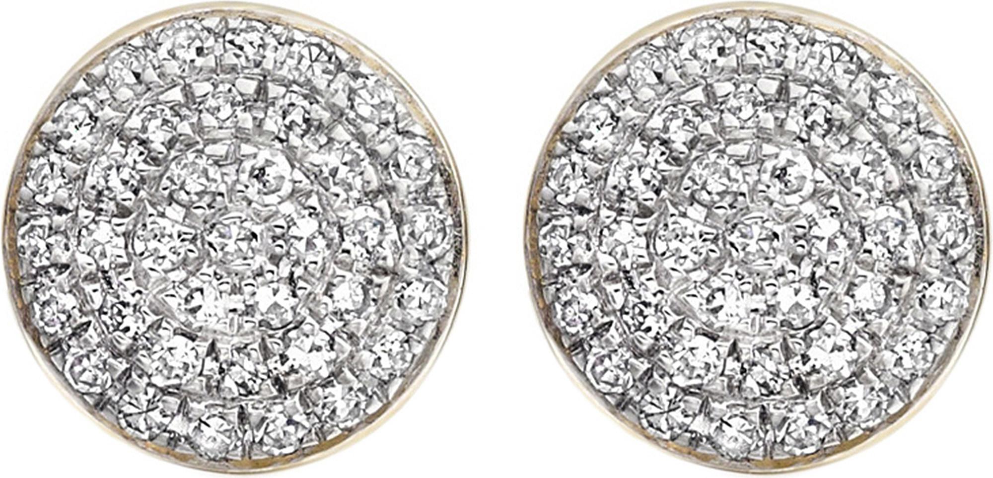 Ava Diamond Button Stud Earrings, Gold Vermeil on Silver Monica Vinader
