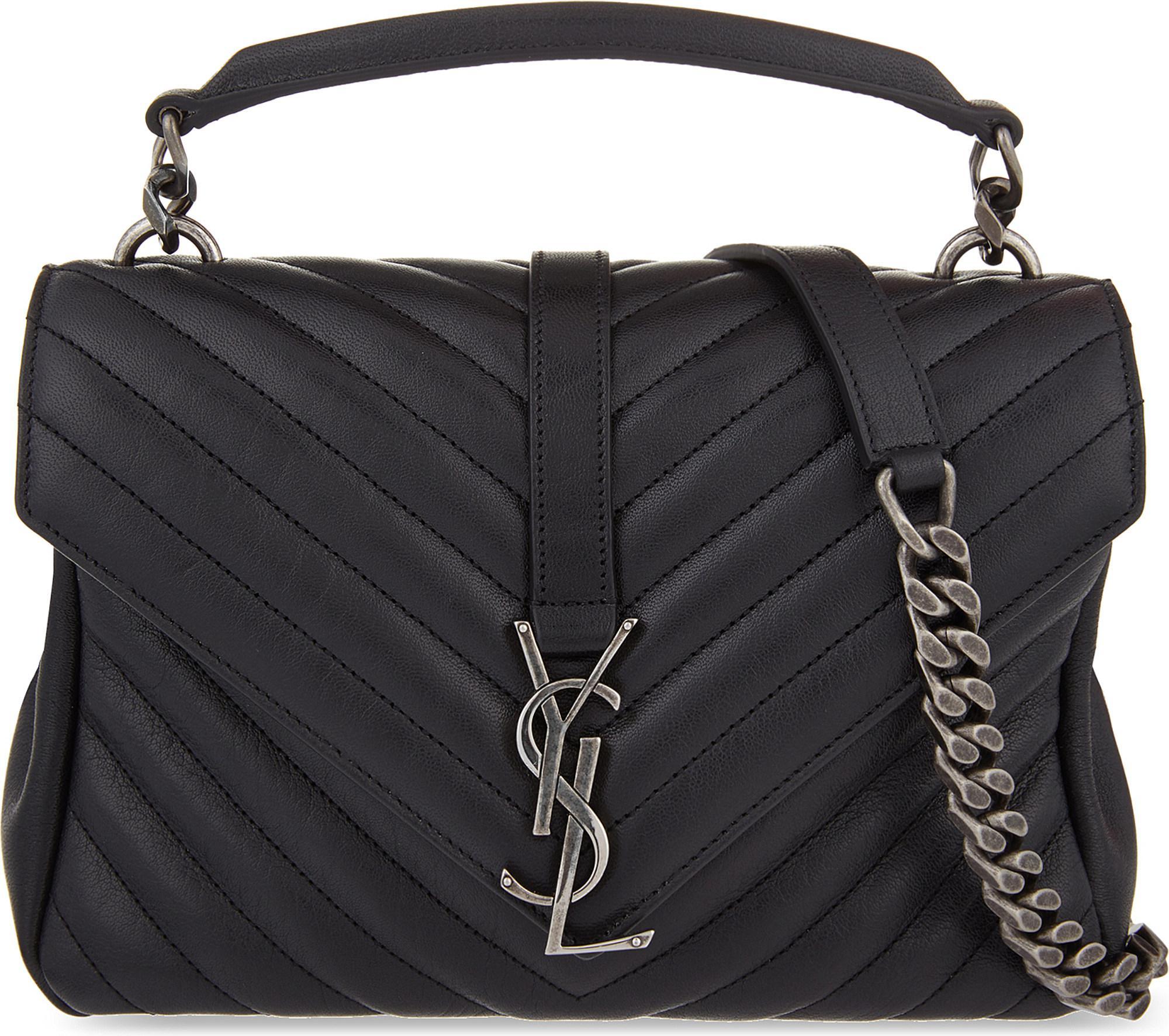 Saint Laurent. Women s Black Monogram College Small Quilted Leather Shoulder  Bag ebce69dedb
