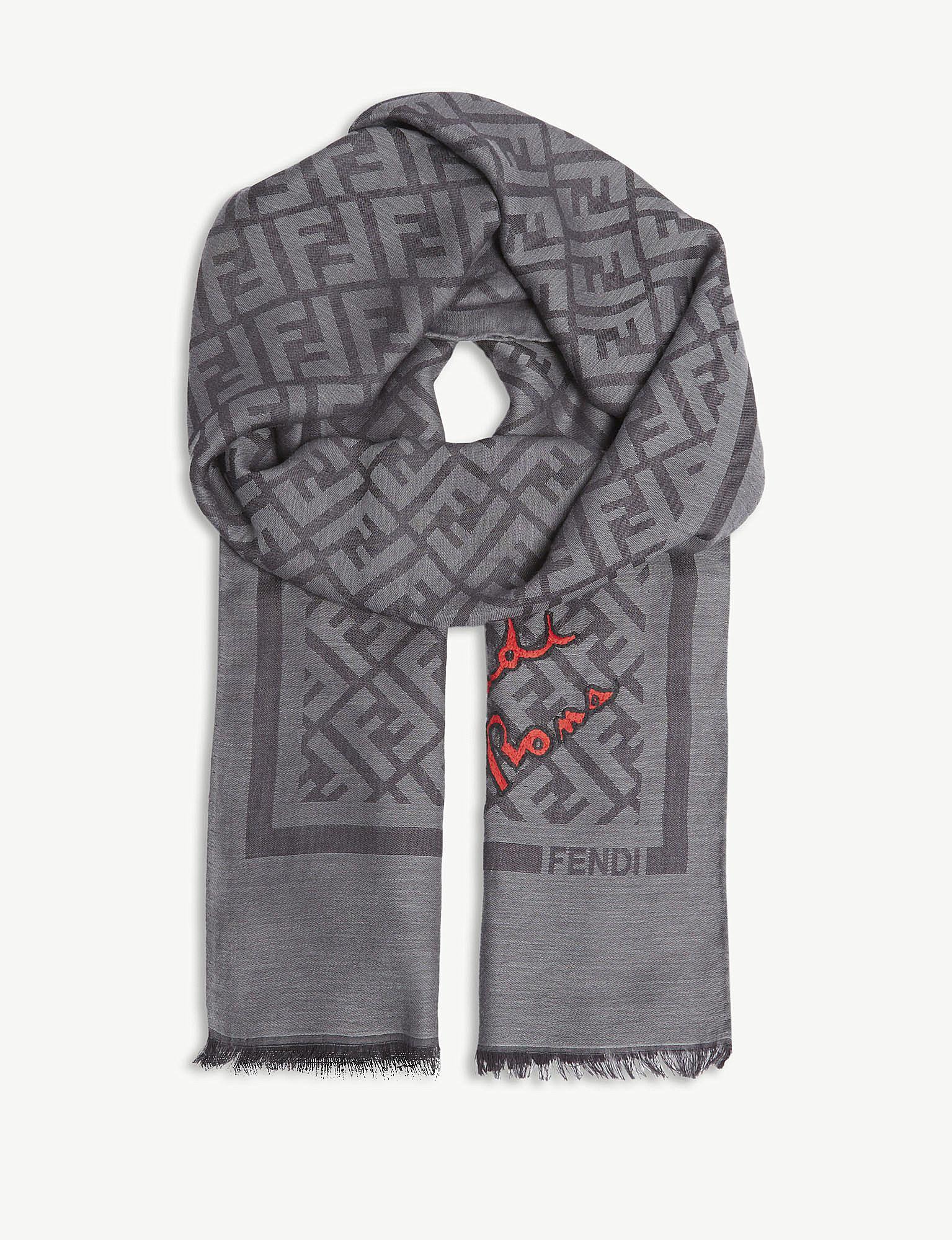 8336d3657ba1 ... denmark lyst fendi logo silk blend scarf in gray for men 0f1ae e55ac