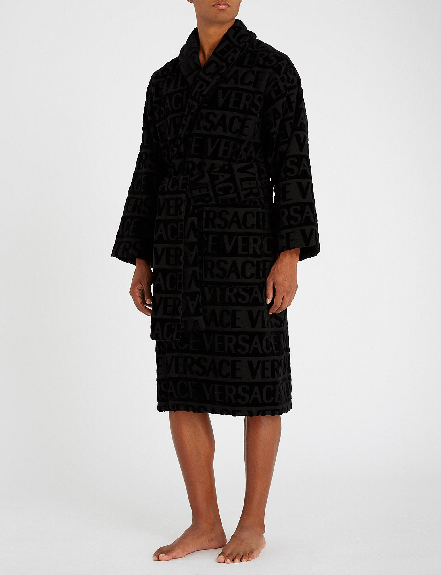 Versace Logo Jacquard Cotton Dressing Gown In Black For Men Lyst
