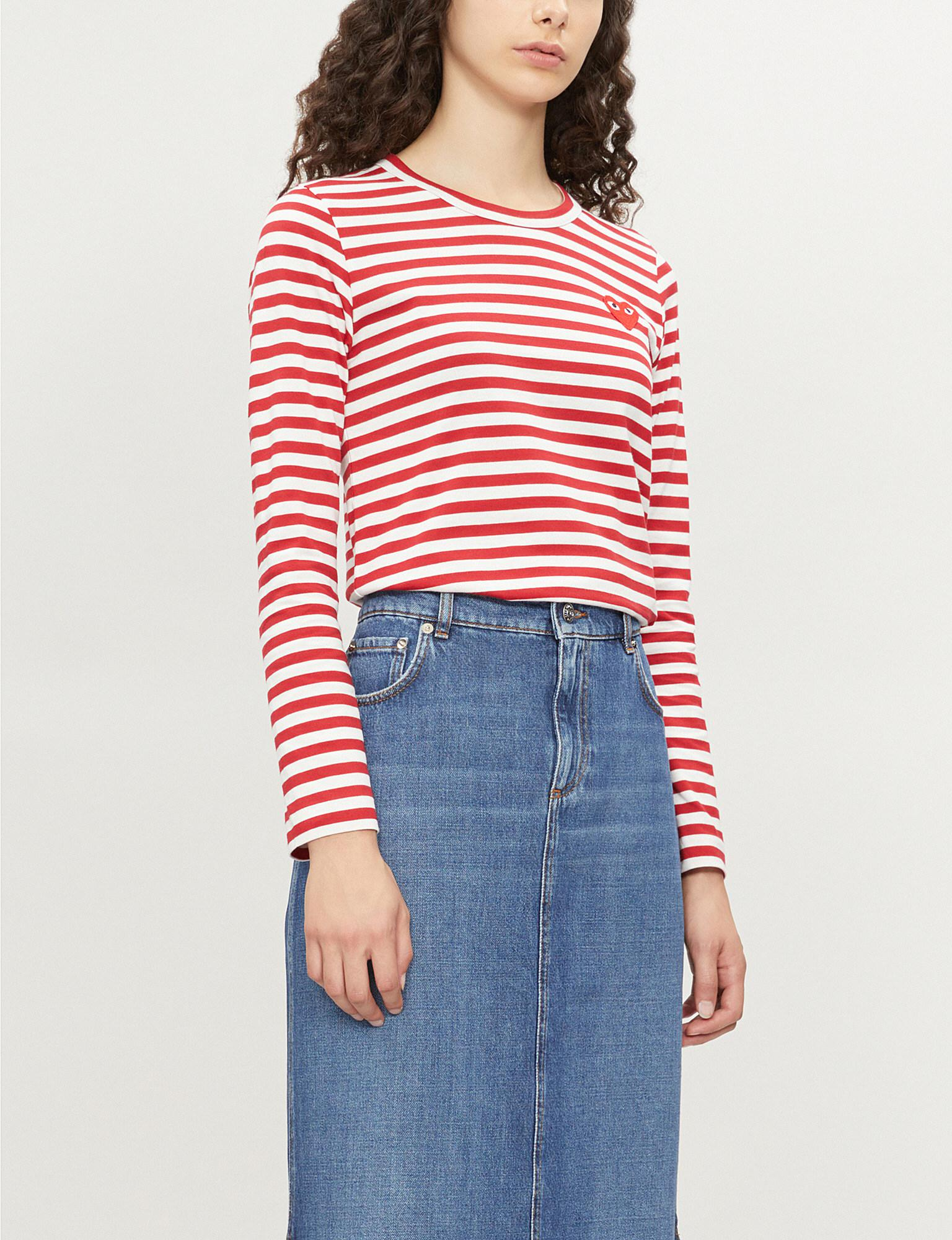 42416e30bdc COMME DES GARÇONS PLAY. Women s Ladies Red And White Heart Patch Striped  Cotton-jersey Top