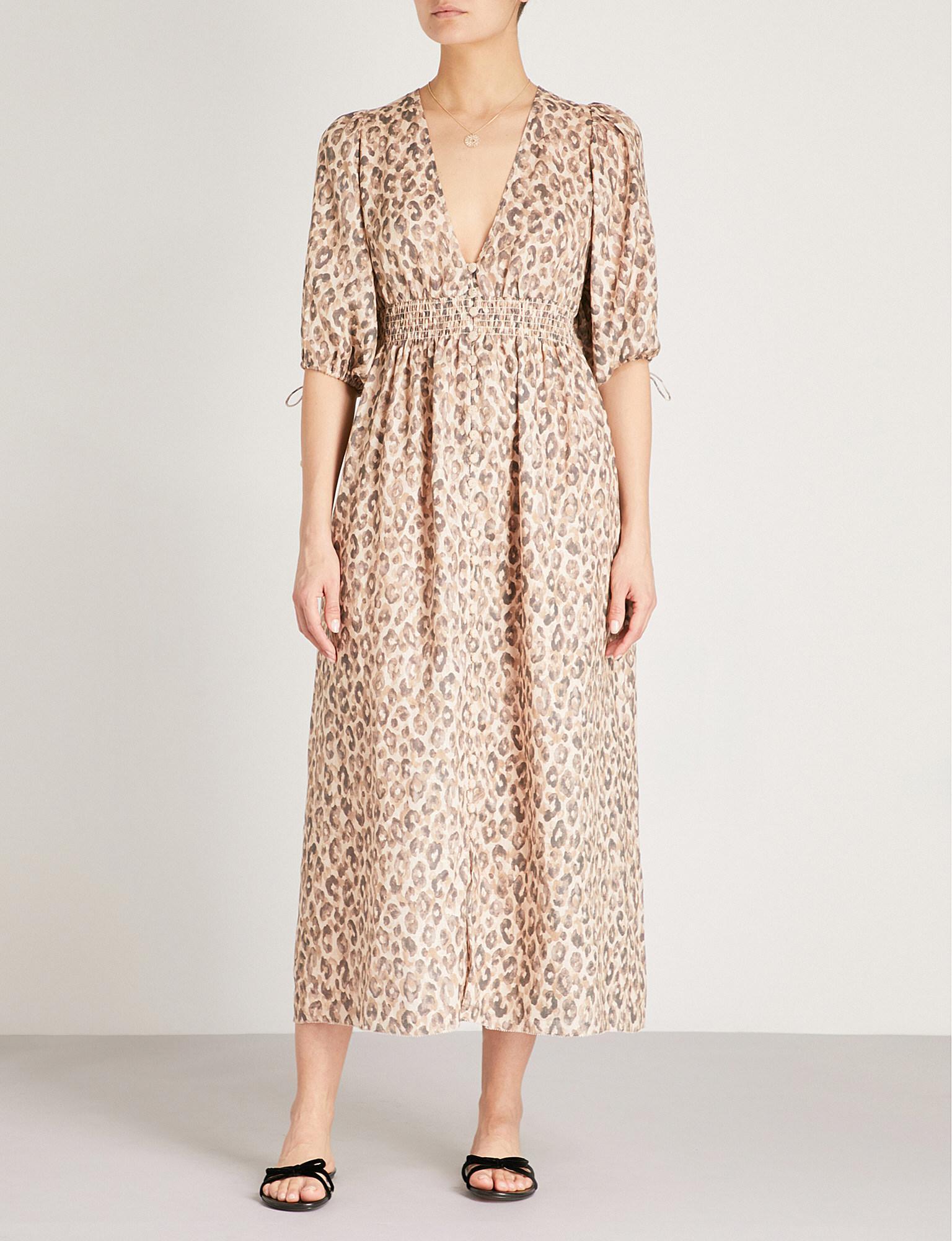 cbbcc64d8b Zimmermann Melody Leopard-print Linen Dress - Lyst