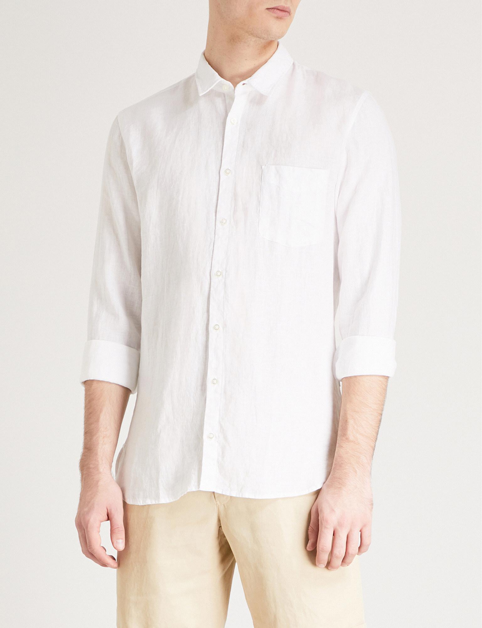 BOSS Orange. Men's White Regular-fit Linen Shirt