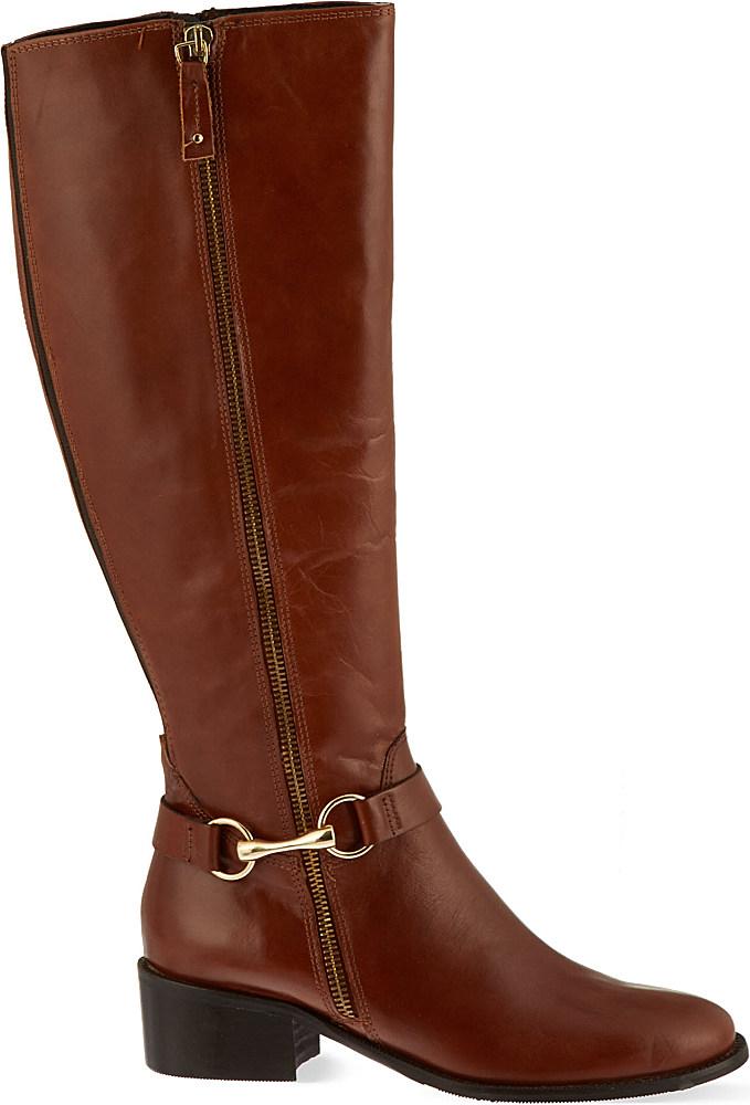 carvela kurt geiger waffle knee high boots in brown
