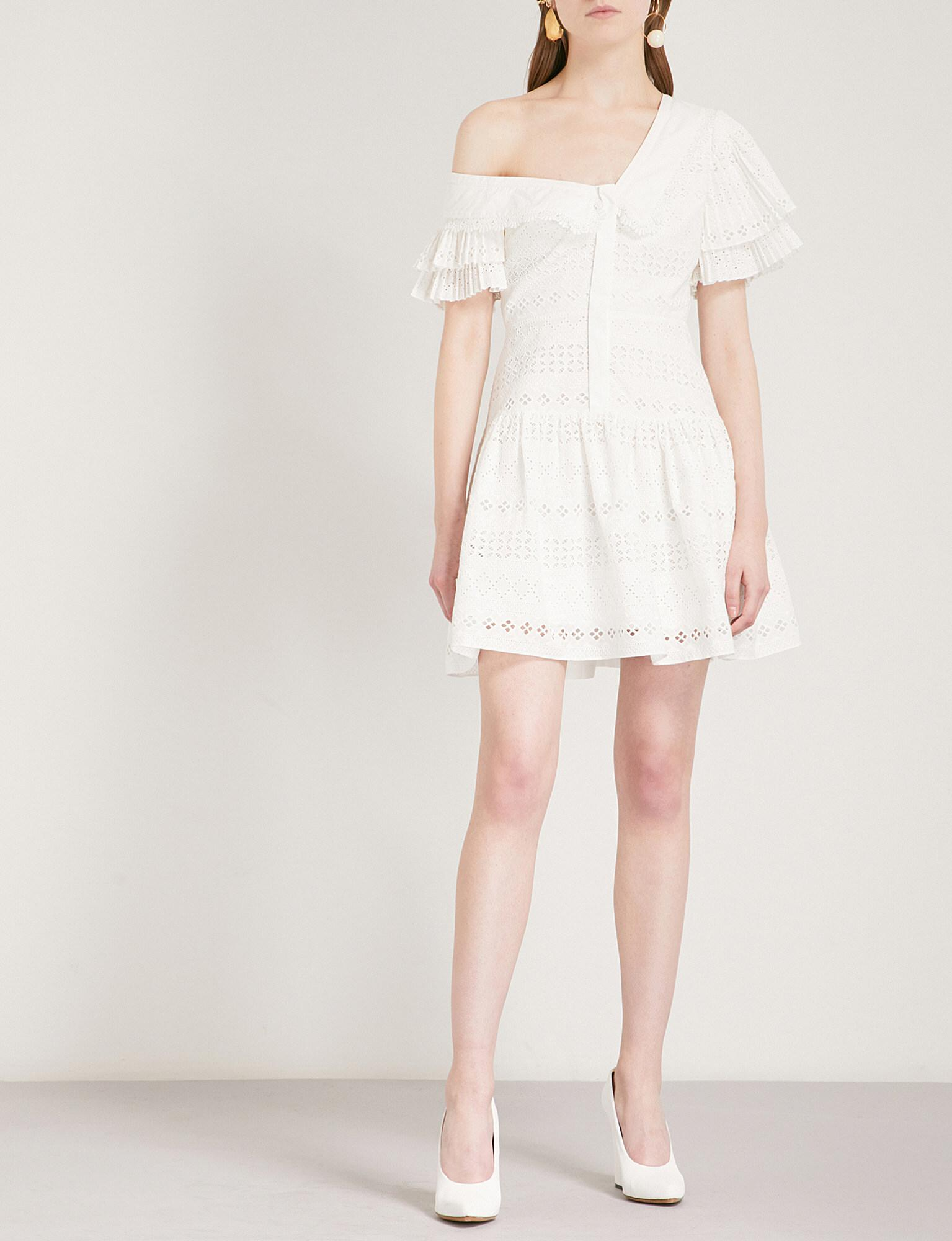 eb81b02df730d8 Self-Portrait One Shoulder Broderie Anglaise Dress in White - Lyst
