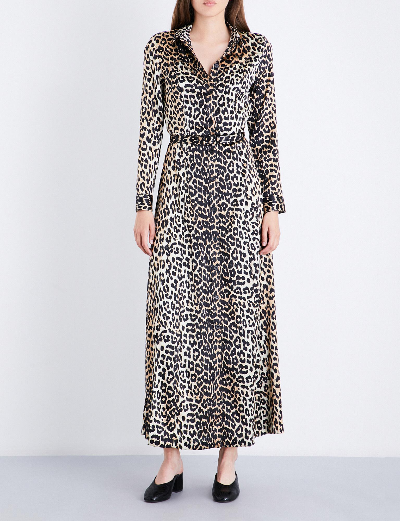 57d215d5 Ganni Dufort Silk Dress in Black - Lyst