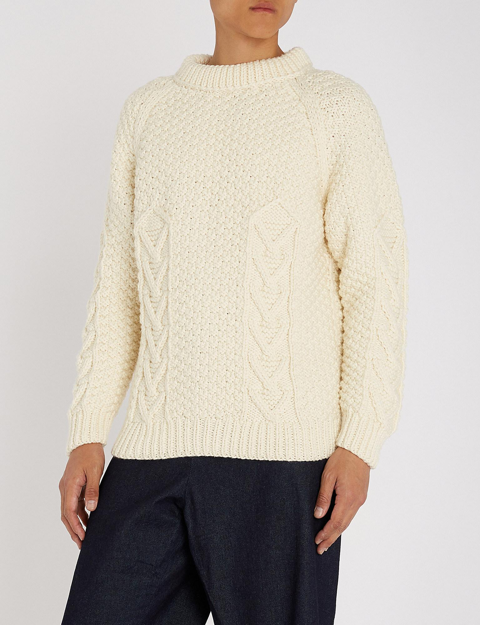 3c91032f0c Loewe Logo-embroidered Cable-knit Wool Jumper in Natural for Men - Lyst