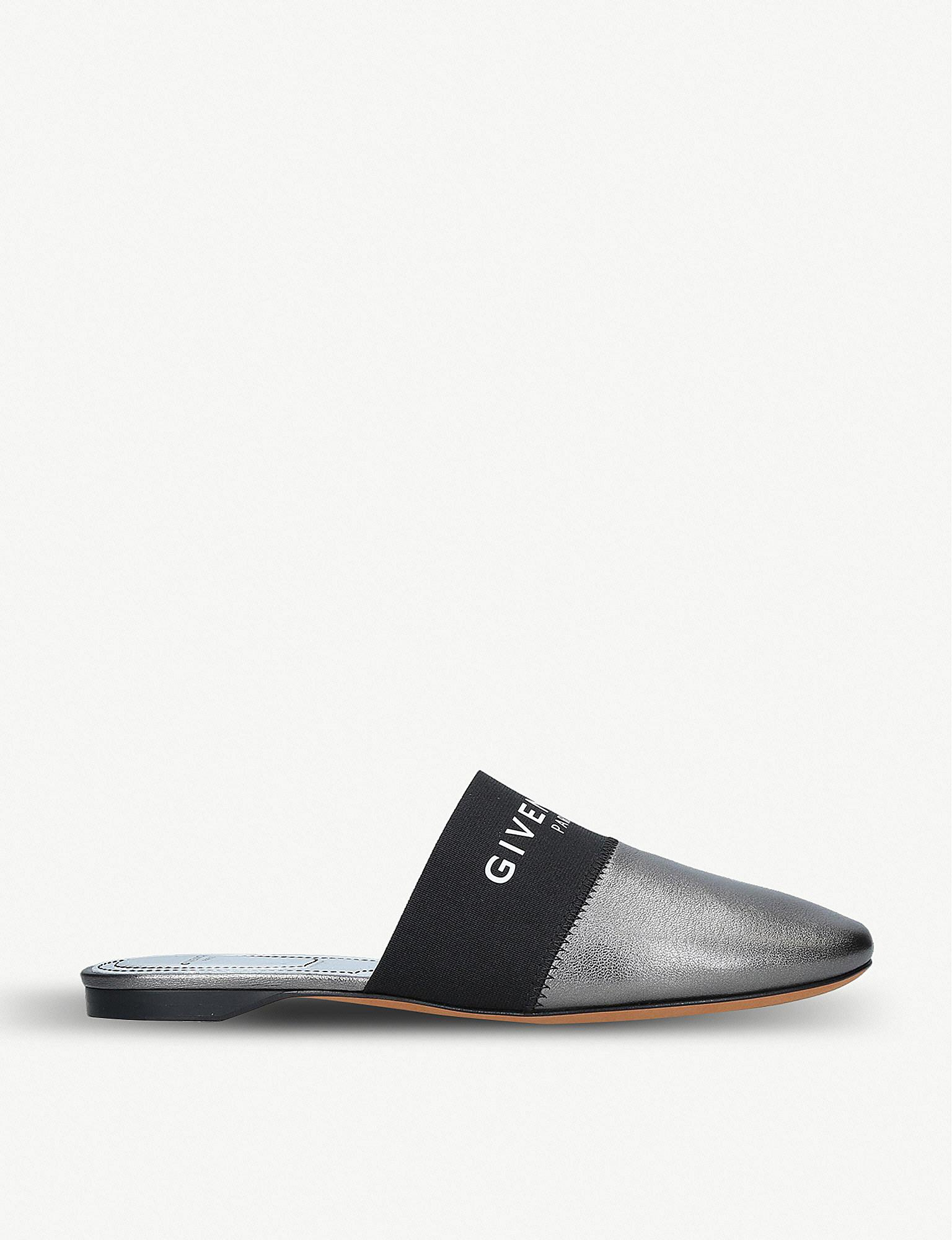 2ada6b0e1e34 Givenchy. Women s Bedford Logo-print Leather Backless Mules