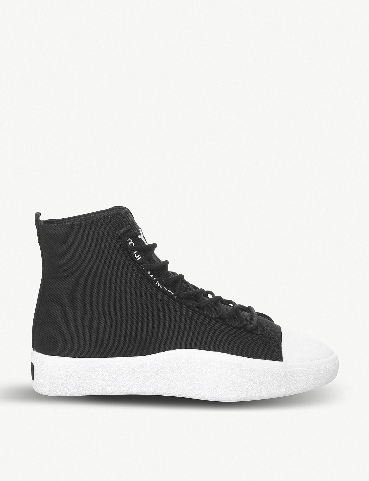 2293b478858c Lyst - Y-3 Bashyo Leather And Canvas Trainers in Black for Men