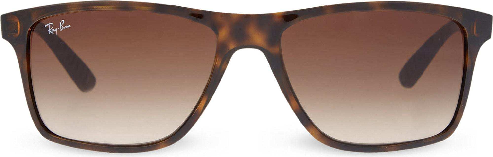 8bb7a4ff3d3 Lyst - Ray-Ban Rb4234 Tortoise Shell Rectangular Sunglasses in Brown