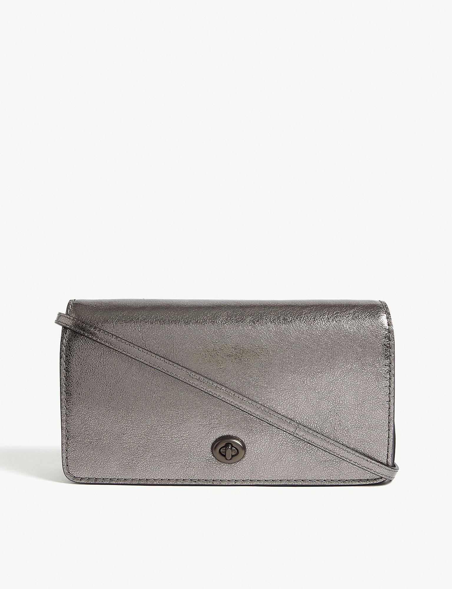 ff9bcdd90b7d1 Lyst - COACH Dinky Metallic Leather Cross-body Bag in Metallic