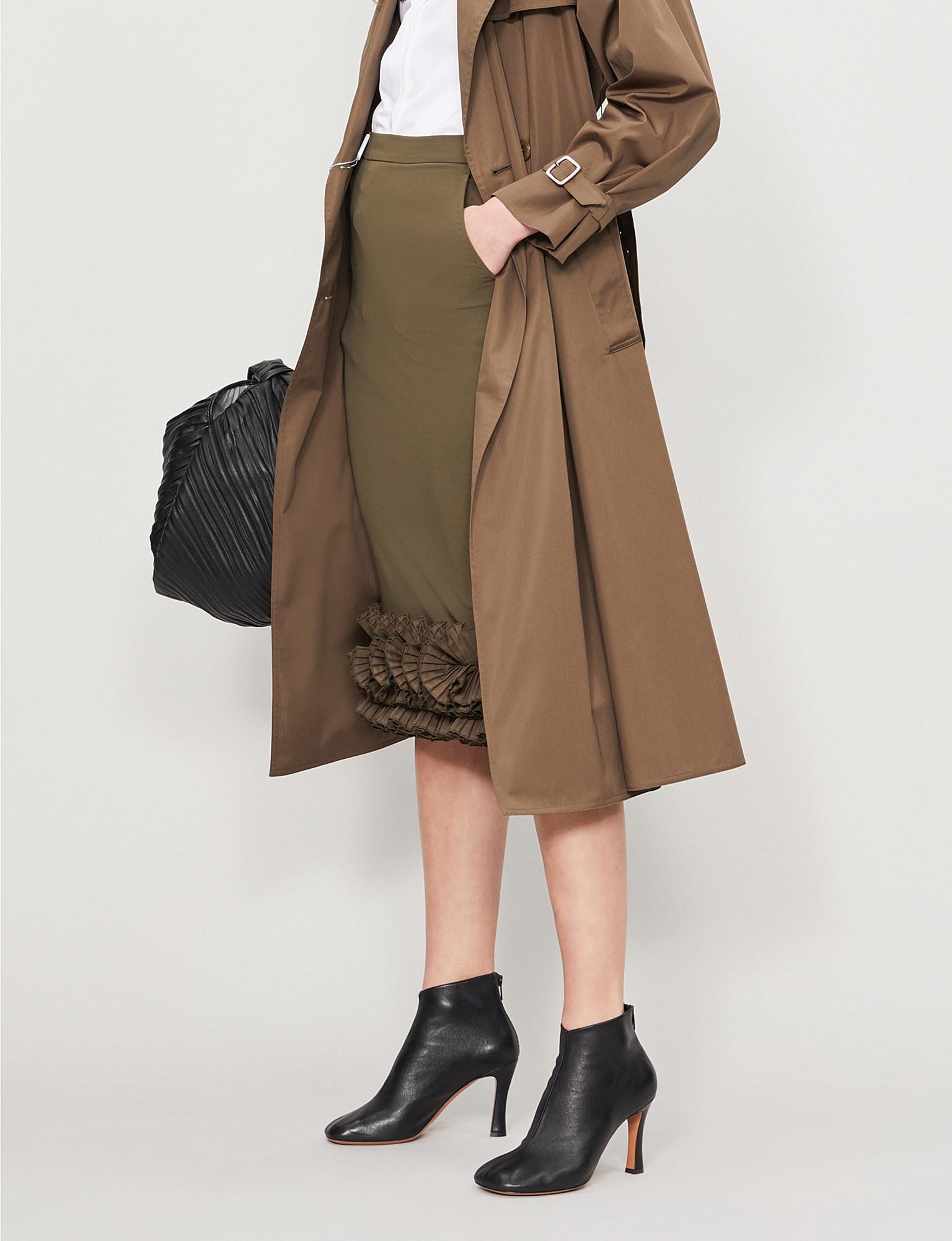 1b2cde1db Lyst - Max Mara Zircone Frilled-hem Crepe Skirt in Natural