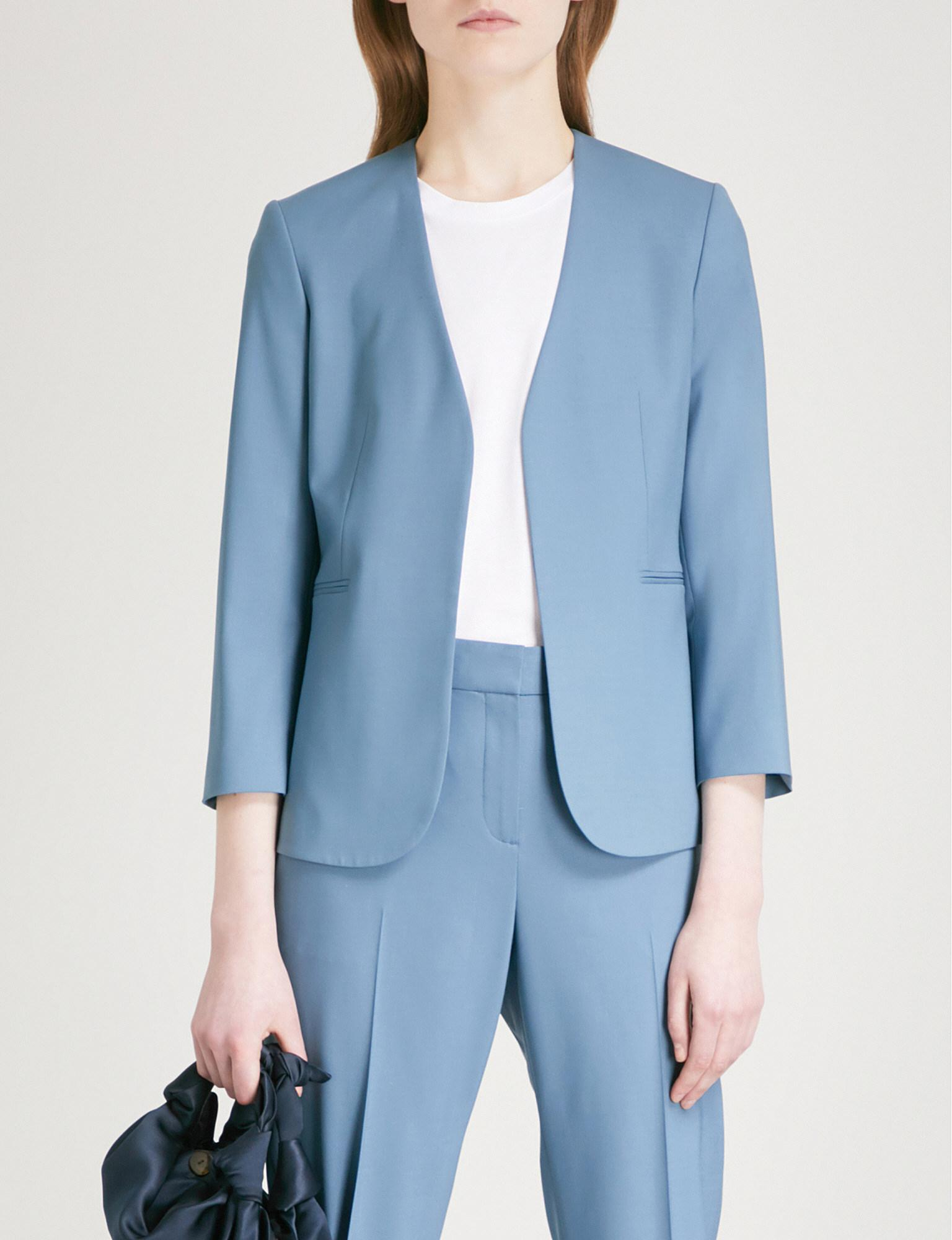 2c21de3b0cf Theory Lindrayia Cropped Stretch-wool Jacket in Blue - Lyst