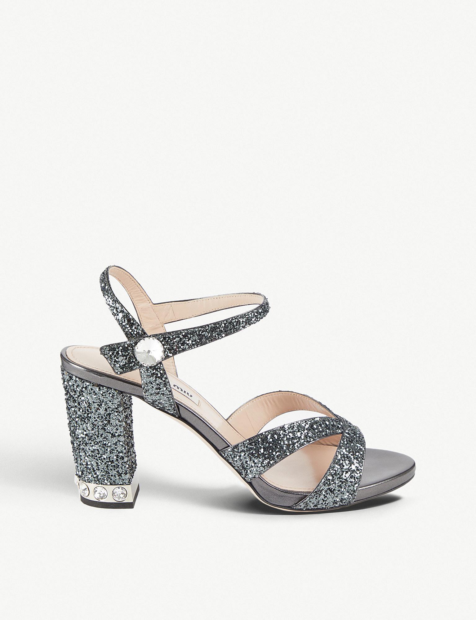 57fee8f71 Lyst - Miu Miu Crystal-embellished Glitter Sandals in Metallic
