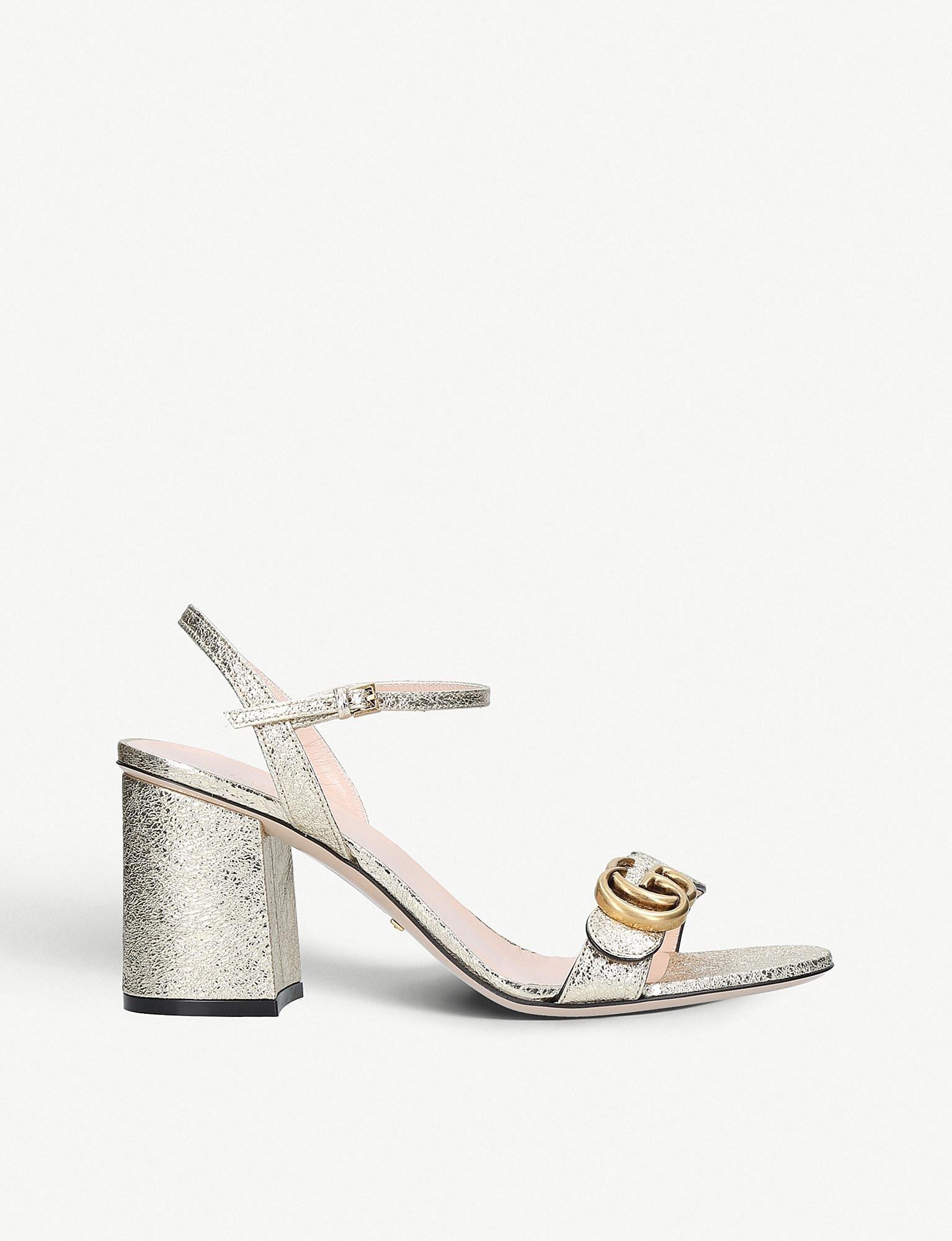 6cbc52eea80f Lyst - Gucci Marmont Metallic Leather Sandals in Metallic