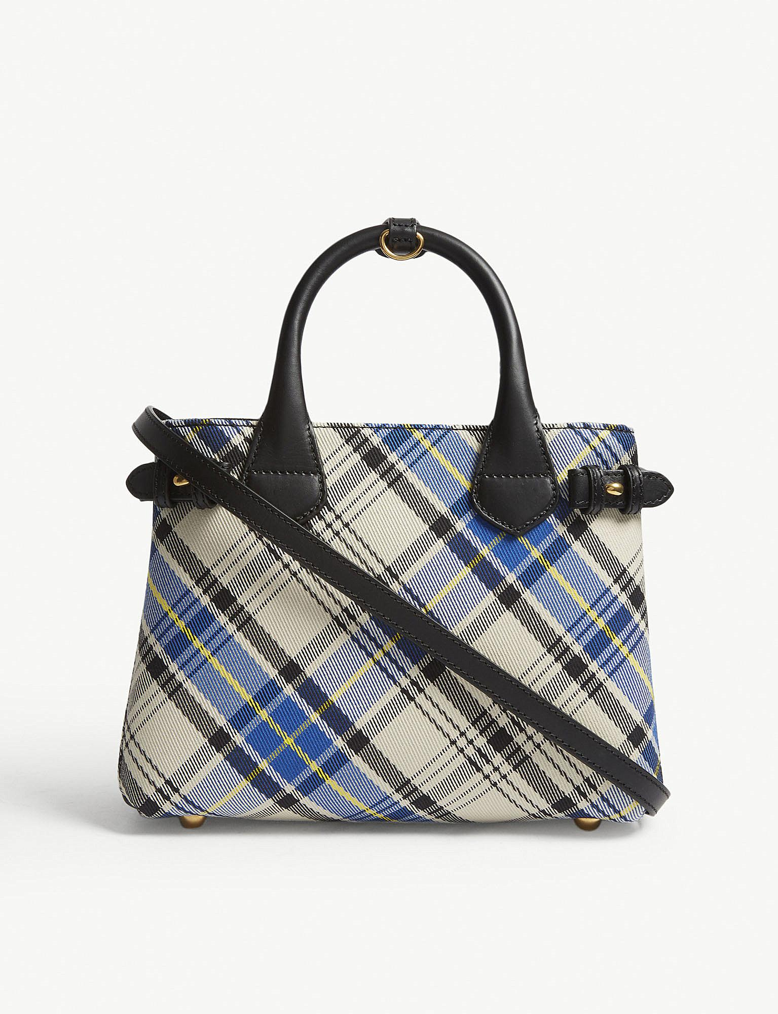 5f2e9ff71f80 Lyst - Burberry Chalk White Tartan Check Banner Small And Leather ...