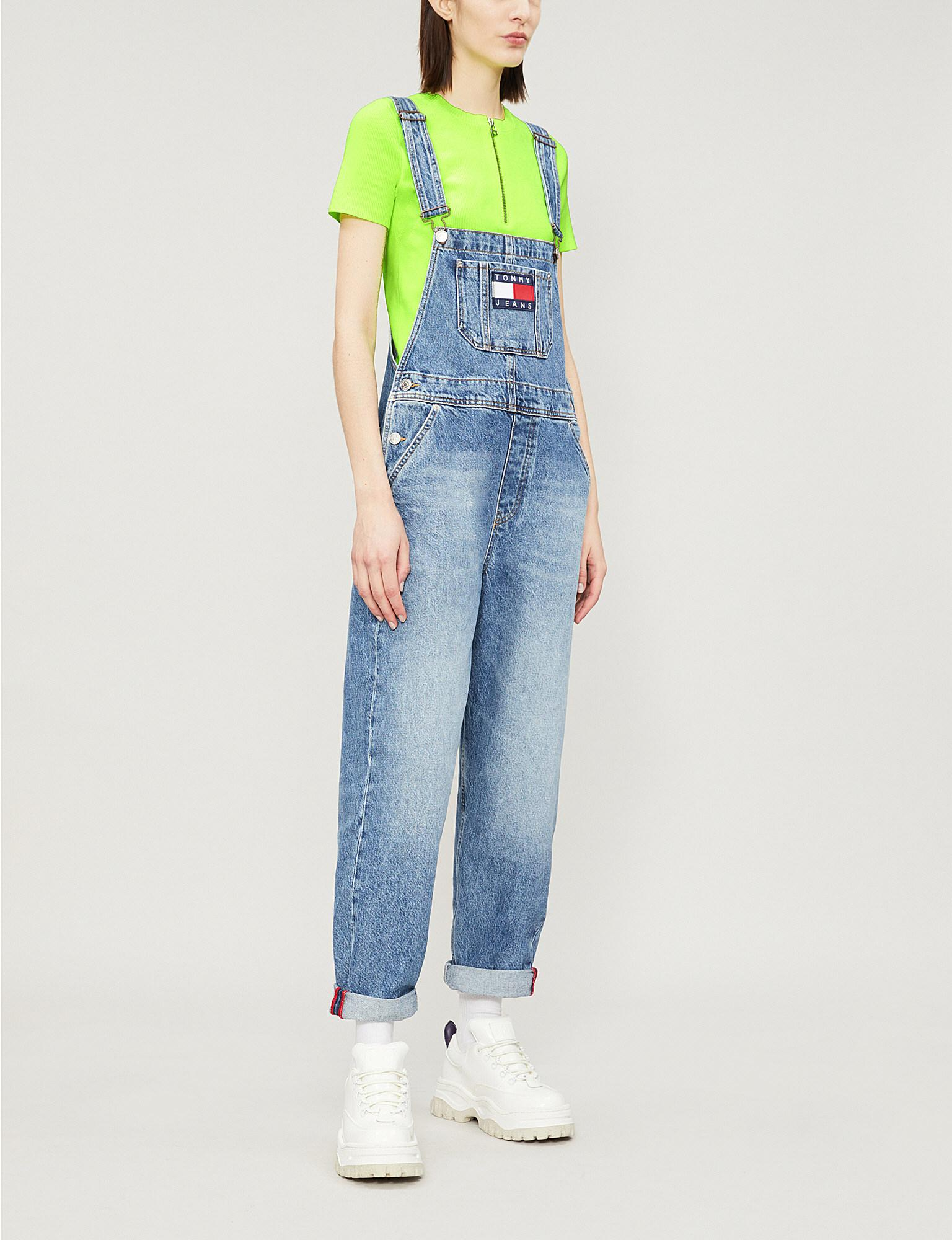 6628144abf8b Lyst - Tommy Hilfiger Logo-appliqué Denim Dungarees in Blue