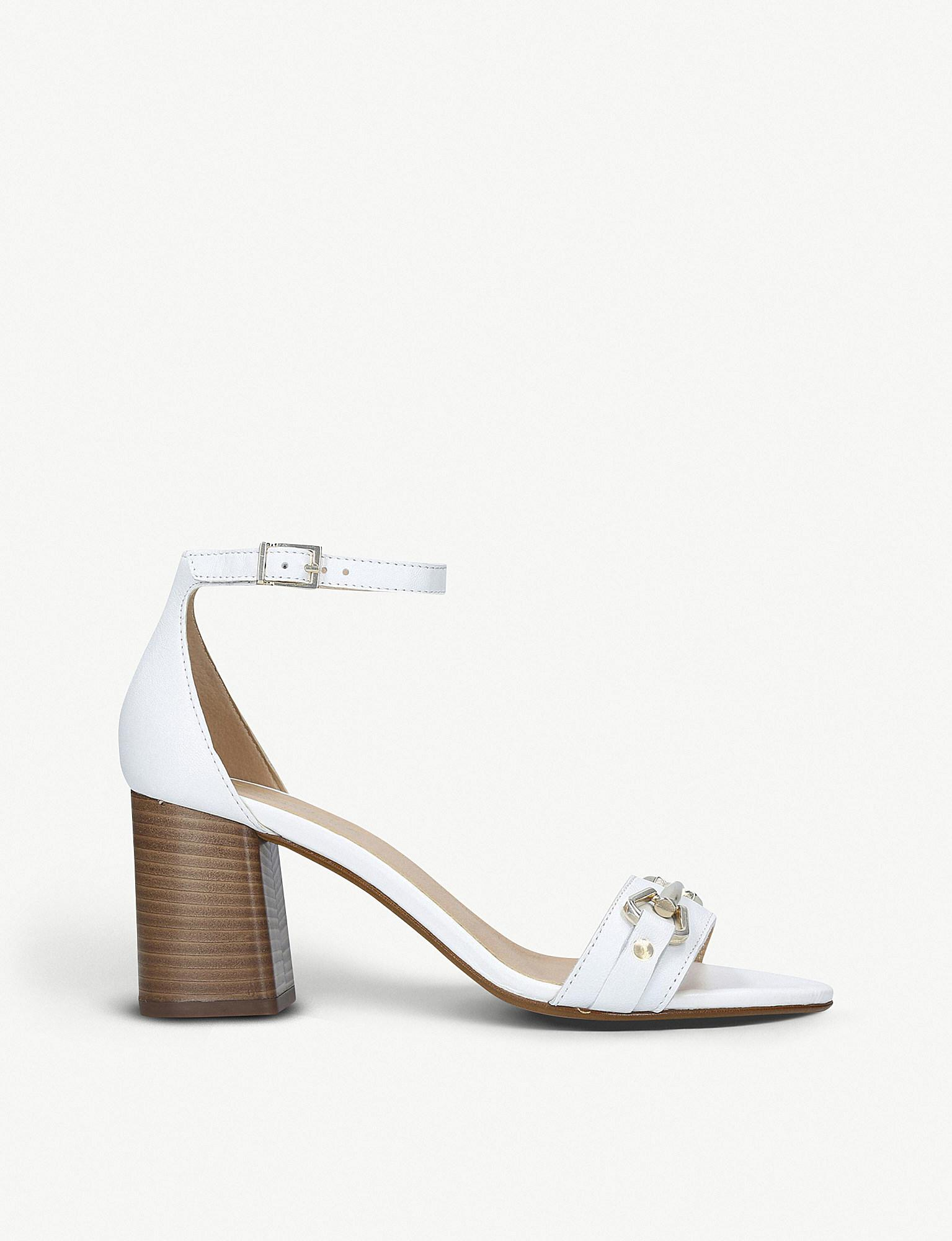 9d22fc59009 Lyst - Carvela Kurt Geiger Kast Leather Stacked Heel Sandals in White