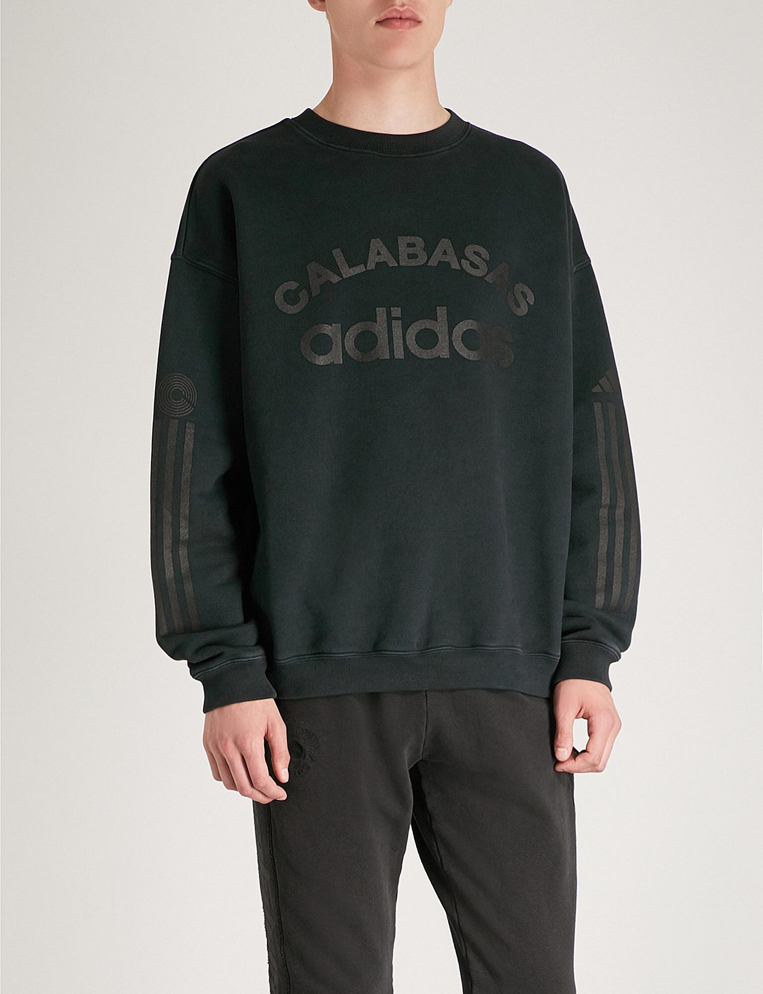 0adb2f91484 Lyst - Yeezy X Adidas Season 6 Logo-print Cotton-jersey Sweatshirt ...