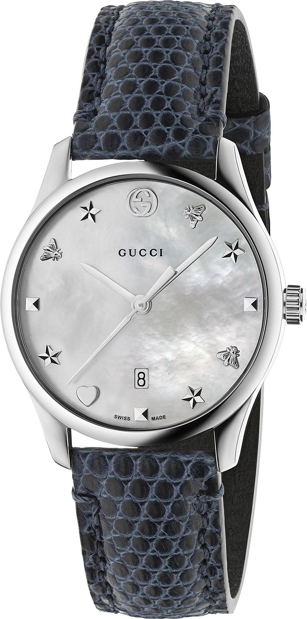 c4ce645e5c7 Lyst - Gucci Ya126588 G-timeless Mother-of-pearl And Lizard-leather ...